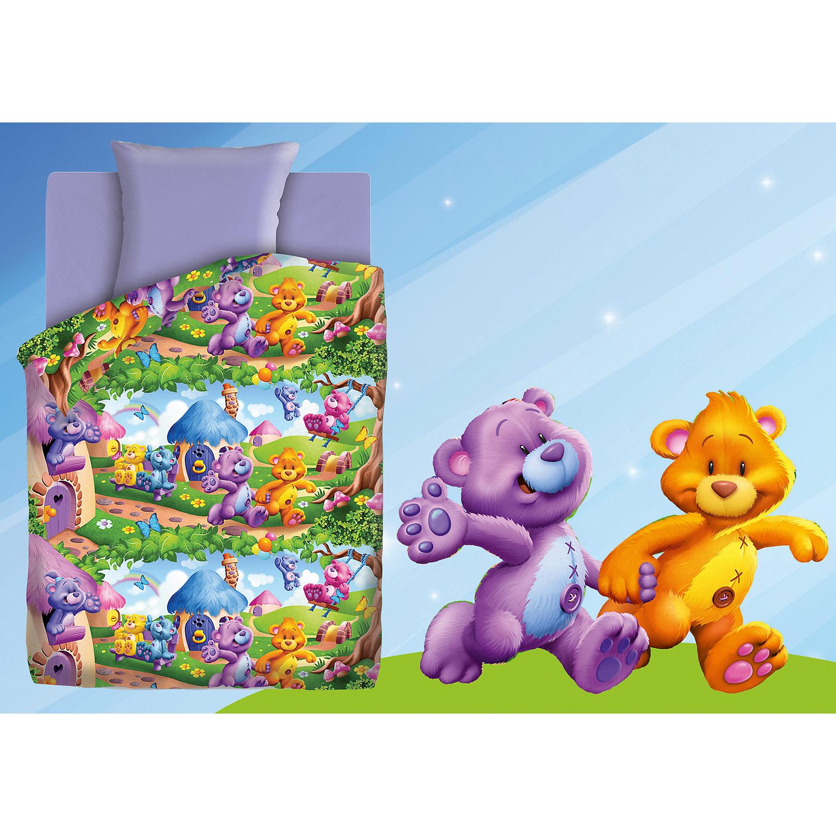 Непоседа Постельное белье 1,5 Радужные мишки (нав.70*70) бязь, Непоседа, лиловый непоседа постельное белье маленькие феечки 3 предмета непоседа