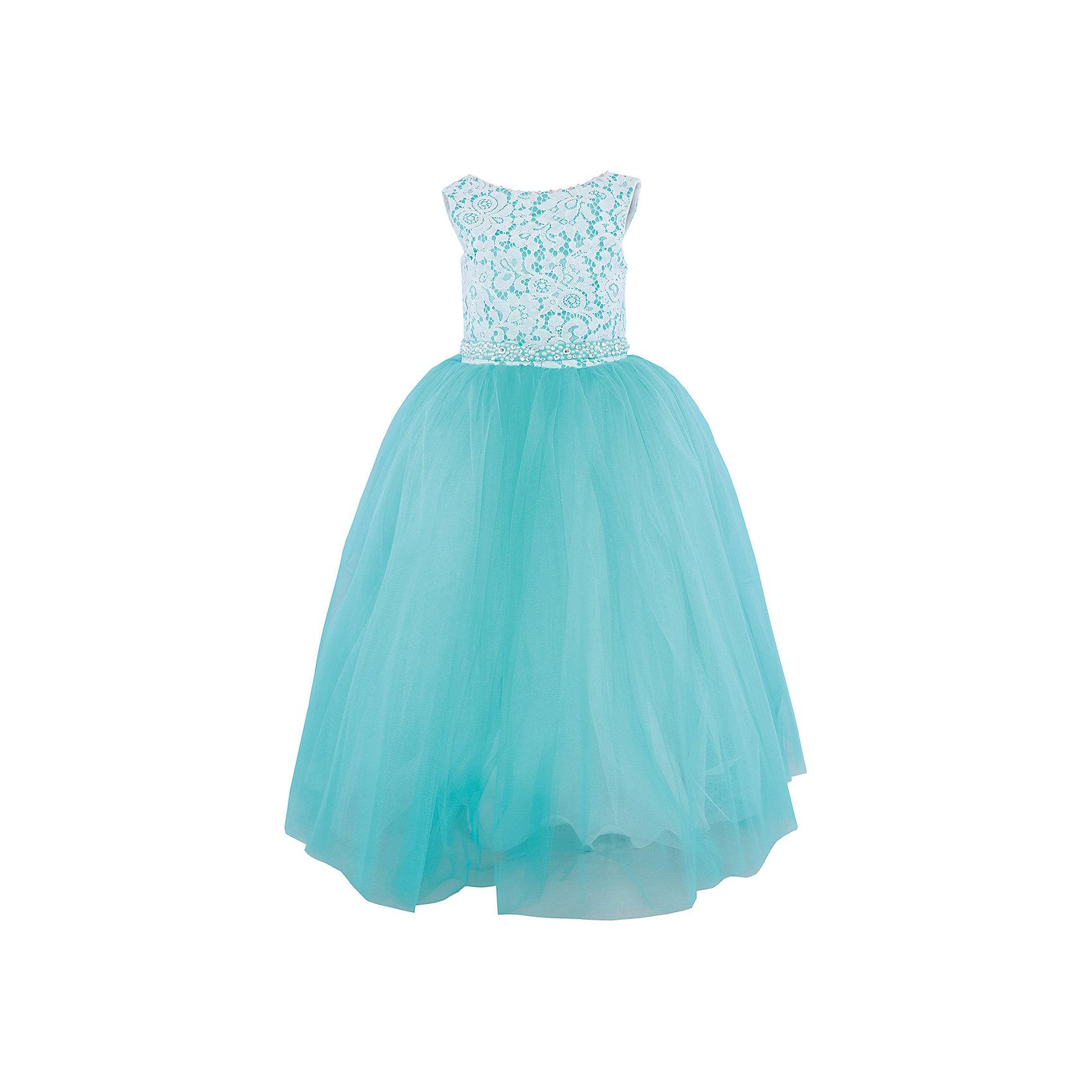 Платье нарядное ПрестижХарактеристики:<br><br>• Вид детской и подростковой одежды: платье<br>• Предназначение: праздничная<br>• Коллекция: Veronikaiko<br>• Сезон: круглый год<br>• Тематика рисунка: цветы<br>• Материал: 100% полиэстер<br>• Цвет: бирюзовый, белый<br>• Силуэт: А-силуэт<br>• Юбка: солнце<br>• Рукав: без рукава<br>• Вырез горловины: круглый<br>• Длина платья: макси<br>• Застежка: молния на спинке<br>• Пояс декорирован стразами и бусинами<br>• Особенности ухода: ручная стирка при температуре не более 30 градусов<br><br>Платье регулируется шнуровкой сзади, от талии до верха спинки. Шнуровка в комплекте.<br>Платье подходит для занятий бальными танцами.<br><br>Платье нарядное для девочки Престиж от отечественного производителя праздничной одежды и аксессуаров как для взрослых, так и для детей. Изделие выполнено из 100% полиэстера, который обладает легкостью, прочностью, устойчивостью к износу и пятнам. <br><br>Платье отрезное по талии, имеет классический А-силуэт и круглую горловину. Платье выполнено в нежном дизайне. Верх платья выполнен из двух слоев: сочетание однотонного подклада и кружевного полотна со стразами выглядит эффектно и изысканно. Длинная юбка придает изделию особую воздушность и легкость. Дополняет образ пояс, оформленный стразами и бусинами.<br><br>Платье нарядное для девочки Престиж – это неповторимый стиль вашей девочки на любом торжестве!<br><br>Платье нарядное для девочки Престиж можно купить в нашем интернет-магазине.<br><br>Ширина мм: 236<br>Глубина мм: 16<br>Высота мм: 184<br>Вес г: 177<br>Цвет: бирюзовый<br>Возраст от месяцев: 72<br>Возраст до месяцев: 84<br>Пол: Женский<br>Возраст: Детский<br>Размер: 116,134,122,128<br>SKU: 5158310
