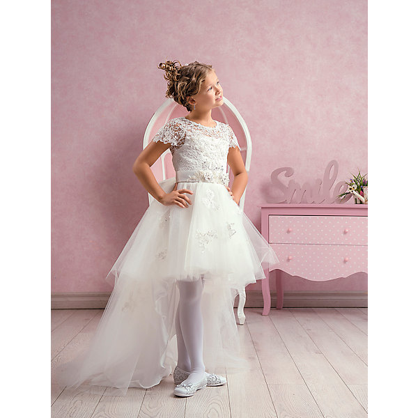 Платье нарядное ПрестижОдежда<br>Платье для девочки Престиж.<br><br>Характеристики:<br><br>• А-силуэт<br>• рукав: короткий<br>• дина: Кан-Кан<br>• состав: 100% полиэстер<br>• цвет: молочный<br><br>Стильное платье для девочки Престиж имеет А-силуэт и короткие рукава. Платье дополнено тонким шлейфом и поясом с бусинами. Кружевной верх и подол украшены вышивкой и пайетками. Это платье создано для настоящих принцесс!<br><br>Платье регулируется шнуровкой сзади, от талии до верха спинки. Шнуровка в комплекте.<br>Платье подходит для занятий бальными танцами.<br><br>Вы можете приобрести платье для девочки Престиж в нашем интернет-магазине.<br>Ширина мм: 236; Глубина мм: 16; Высота мм: 184; Вес г: 177; Цвет: белый; Возраст от месяцев: 96; Возраст до месяцев: 108; Пол: Женский; Возраст: Детский; Размер: 134,128,122; SKU: 5158435;
