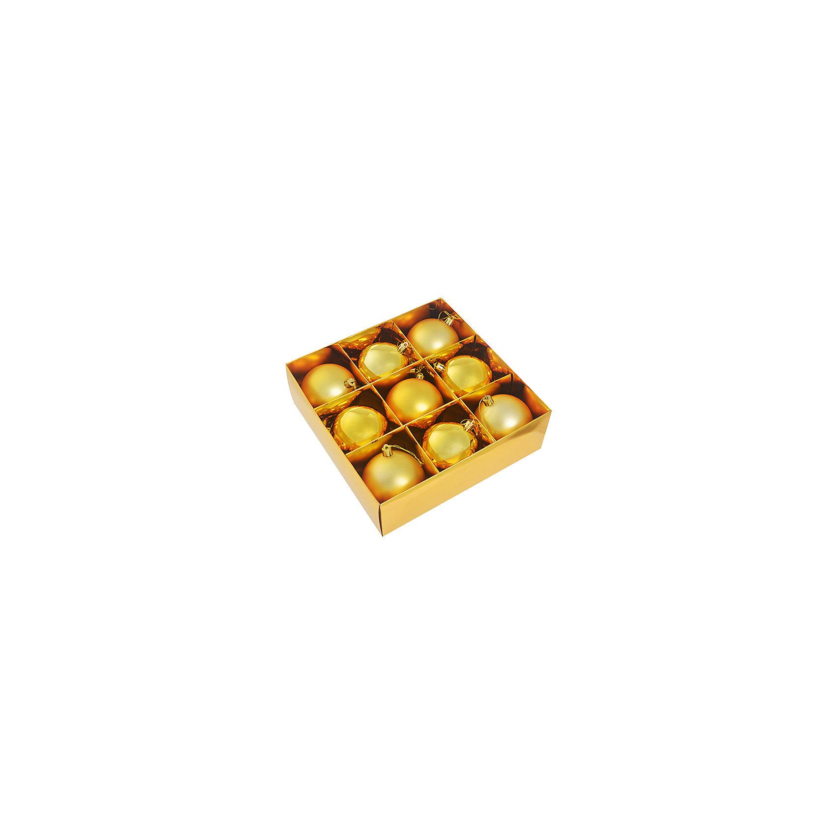 Набор елочных шаров,9 шт, цвет золотоВсё для праздника<br>Набор елочных шаров, диаметр 8 см, 9 шт., цвет золото<br><br>Ширина мм: 25<br>Глубина мм: 25<br>Высота мм: 10<br>Вес г: 200<br>Возраст от месяцев: 72<br>Возраст до месяцев: 540<br>Пол: Унисекс<br>Возраст: Детский<br>SKU: 5159001
