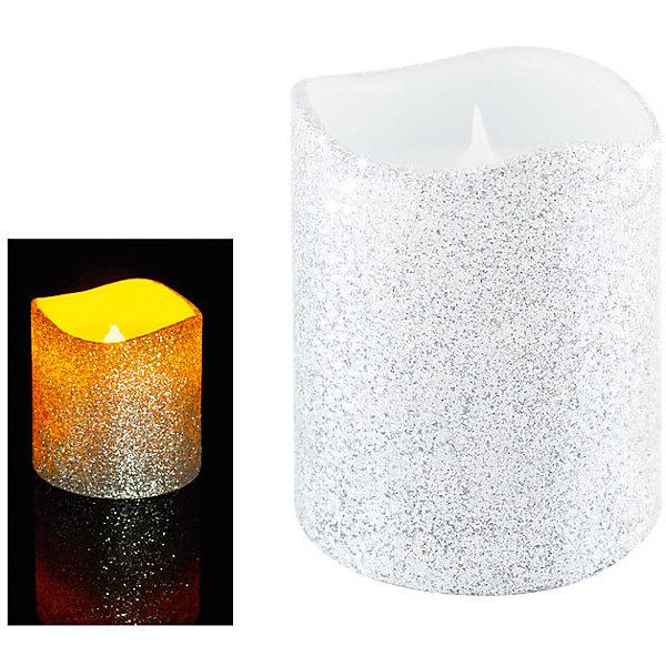 Светодиодная свеча, серебрянная с блесткамиНовогодние свечи и подсвечники<br>Светодиодная свеча, 10х7,5 см, СЕРЕБРЯНЫЙ цвет с блёстками<br><br>Ширина мм: 8<br>Глубина мм: 20<br>Высота мм: 5<br>Вес г: 300<br>Возраст от месяцев: 72<br>Возраст до месяцев: 540<br>Пол: Унисекс<br>Возраст: Детский<br>SKU: 5159011