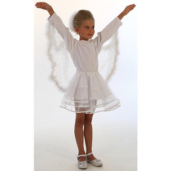 Карнавальный костюм Лебедь, ВестификаКарнавальные костюмы для девочек<br>Карнавальный костюм Лебедь, Вестифика<br><br>Красивая и благородная птица легла в основу карнавального костюма «Лебедь». <br>Костюм состоит из белой бархатной кофточки с ажурными полупрозрачными гипюровымикрыльями. Крылья оторочены настоящим боа. Дополняет костюм многоярусная пышная юбка-пачка из окантованного фатина белого цвета на резинке. В комплект входит также укражение для волос из боа.<br><br>Комплектация:<br>Кофточка из велюра и гипюра<br>Юбка-пачка из фатина с подкладкой из тафеты<br>Украшения для волос из боа<br><br>Ткани:<br>Фатин (100% полиэстер)<br>Велюр (80% хлопок, 20% полиэстер)<br>Гипюр (100% полиэстер)<br><br>Ширина мм: 450<br>Глубина мм: 80<br>Высота мм: 350<br>Вес г: 250<br>Возраст от месяцев: 72<br>Возраст до месяцев: 84<br>Пол: Женский<br>Возраст: Детский<br>Размер: 116/122<br>SKU: 5159013