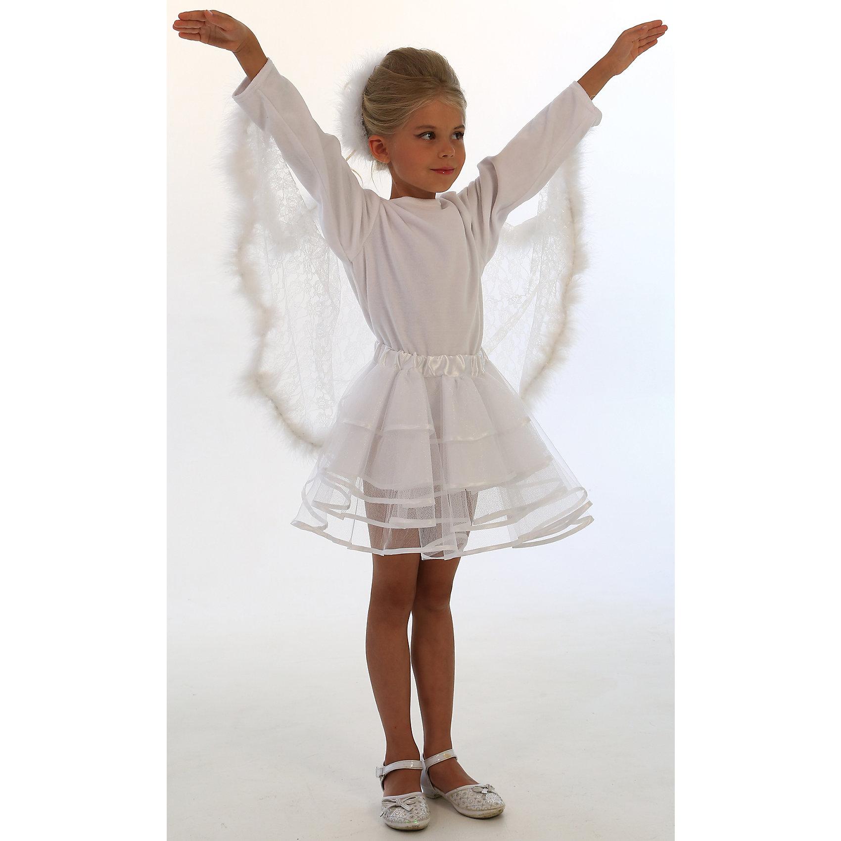 Карнавальный костюм Лебедь, ВестификаКарнавальный костюм Лебедь, Вестифика<br><br>Красивая и благородная птица легла в основу карнавального костюма «Лебедь». <br>Костюм состоит из белой бархатной кофточки с ажурными полупрозрачными гипюровымикрыльями. Крылья оторочены настоящим боа. Дополняет костюм многоярусная пышная юбка-пачка из окантованного фатина белого цвета на резинке. В комплект входит также укражение для волос из боа.<br><br>Комплектация:<br>Кофточка из велюра и гипюра<br>Юбка-пачка из фатина с подкладкой из тафеты<br>Украшения для волос из боа<br><br>Ткани:<br>Фатин (100% полиэстер)<br>Велюр (80% хлопок, 20% полиэстер)<br>Гипюр (100% полиэстер)<br><br>Ширина мм: 450<br>Глубина мм: 80<br>Высота мм: 350<br>Вес г: 250<br>Цвет: разноцветный<br>Возраст от месяцев: 72<br>Возраст до месяцев: 84<br>Пол: Женский<br>Возраст: Детский<br>Размер: 116/122<br>SKU: 5159013