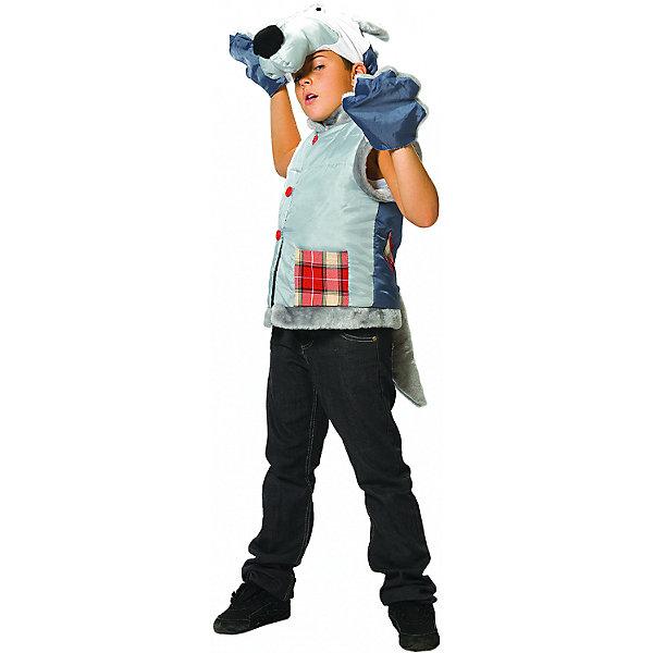Карнавальный костюм Волк, ВестификаКарнавальные костюмы для девочек<br>Детский карнавальный костюм для мальчиков Волк состоит из жилетки, шапоки-маски и варежек. Жилетка выполнена из тафеты, оторочена искусственным мехом, посажена на подкладку и подбита синтепоном. Жилетка украшена крупными пуговицами и кармашками из клетчатой ткани.<br><br>- В комплекте <br>Жилетка <br>Шапка<br>Варежки<br><br>- Ткани:<br>Тафета (100% полиэстер)<br>Шотландка (80% полиэстер, 20% шерсть)<br>Синтепон (100% полиэстер)<br>Искусственный мех (100% полиэстер)<br><br>Ширина мм: 450<br>Глубина мм: 80<br>Высота мм: 350<br>Вес г: 250<br>Возраст от месяцев: 60<br>Возраст до месяцев: 84<br>Пол: Мужской<br>Возраст: Детский<br>Размер: 110/122<br>SKU: 5159015