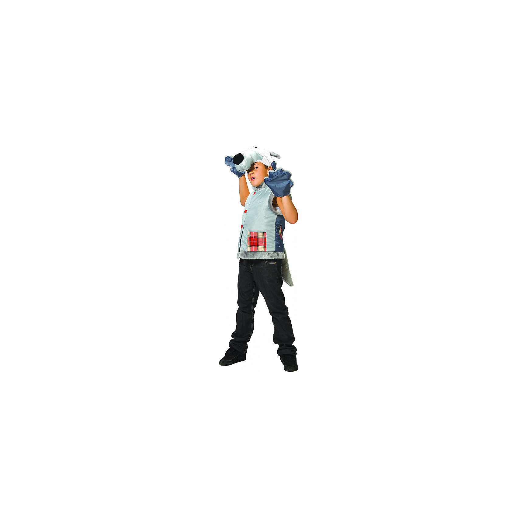 Карнавальный костюм Волк, ВестификаДетский карнавальный костюм для мальчиков Волк состоит из жилетки, шапоки-маски и варежек. Жилетка выполнена из тафеты, оторочена искусственным мехом, посажена на подкладку и подбита синтепоном. Жилетка украшена крупными пуговицами и кармашками из клетчатой ткани.<br><br>- В комплекте <br>Жилетка <br>Шапка<br>Варежки<br><br>- Ткани:<br>Тафета (100% полиэстер)<br>Шотландка (80% полиэстер, 20% шерсть)<br>Синтепон (100% полиэстер)<br>Искусственный мех (100% полиэстер)<br><br>Ширина мм: 450<br>Глубина мм: 80<br>Высота мм: 350<br>Вес г: 250<br>Цвет: разноцветный<br>Возраст от месяцев: 60<br>Возраст до месяцев: 84<br>Пол: Мужской<br>Возраст: Детский<br>Размер: 110/122<br>SKU: 5159015