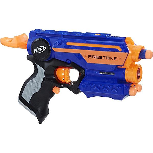 Бластер Nerf Elite FirestrikeИгрушечные пистолеты и бластеры<br>Характеристики товара:<br><br>• возраст: от 8 лет;<br>• материал: пластик;<br>• в комплекте: бластер, 3 патрона;<br>• тип батареек: 2 батарейки ААА;<br>• наличие батареек: в комплект не входят;<br>• размер упаковки: 23,8х17,1х4,8 см;<br>• вес упаковки: 454 гр.<br><br>Бластер Nerf Elite Firestrike позволит устроить детям захватывающие космические сражения. Бластер подойдет как для игры дома, так и на улице. Бластер оснащен удобной рукояткой, обоймой для 3 патронов и настоящим лазерным прицелом, который позволит не только метко прицелиться, но и даже стрелять в темноте. <br><br>Стреляет бластер патронами, которые могут пролетать на расстояние до 20 метров. Патроны выполнены из мягкого поролона и имеют резиновый наконечник, поэтому не нанесут травм во время игры. Патроны окрашены в яркие цвета, что позволит без труда найти их на земле или в траве.<br><br>Бластер Nerf Elite Firestrike можно приобрести в нашем интернет-магазине.<br>Ширина мм: 242; Глубина мм: 198; Высота мм: 53; Вес г: 309; Возраст от месяцев: 96; Возраст до месяцев: 144; Пол: Мужской; Возраст: Детский; SKU: 5160419;