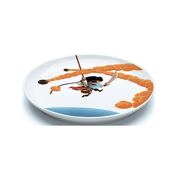 Большая плоская тарелка Пираты, DJECOДетская посуда<br>Большая плоская тарелка Пираты, DJECO<br><br>Характеристики:<br><br>• Материал: фарфор<br>• Размер: 20,5х2см<br>• В комплекте: 1 тарелка<br>• Возраст: от 3 лет<br>• Пол: для мальчиков<br><br>Красивая плоская тарелка отлично разнообразит обед маленьких мальчиков. На тарелке смелый пират отбивается с помощью острого меча от летящих на него пушечных ядер. Такая тарелка сможет увлечь непоседу и заставит его быстро скушать свой обед. Тарелка изготовлена из прочного и качественного материала, который не вызывает аллергию. Краска на тарелке не стирается от мытья и не попадает в еду, что делает ее не только красивой, но и безопасной.<br><br>Большую плоскую тарелку Пираты, DJECO можно купить в нашем интернет-магазине.<br>Ширина мм: 220; Глубина мм: 220; Высота мм: 30; Вес г: 510; Возраст от месяцев: 24; Возраст до месяцев: 1188; Пол: Мужской; Возраст: Детский; SKU: 5163405;