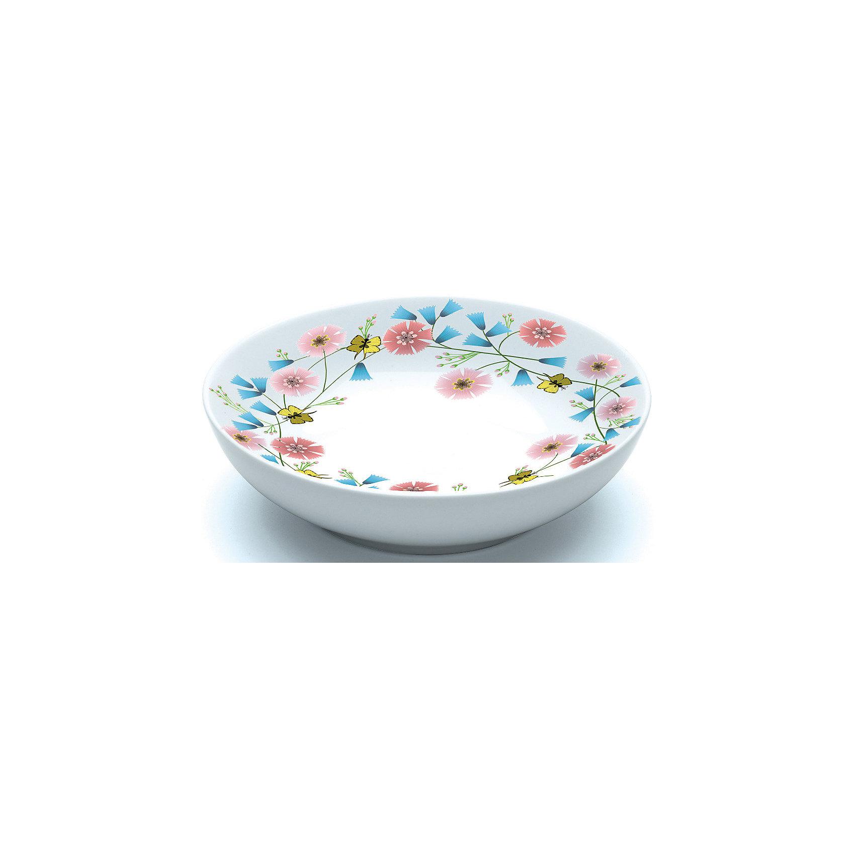 Суповая тарелка Чаепитие, DJECOСуповая тарелка Чаепитие, DJECO<br><br><br>Характеристики:<br><br>• Материал: фарфор<br>• Размер: 16.5 х 16.5 х 4.5 см<br>• В комплекте: 1 тарелка<br>• Возраст: от 2 лет<br>• Пол: для девочек<br><br>Красивая суповая тарелка отлично разнообразит обед маленьких девочек. На тарелке юная принцесса увидит красивые и разнообразные цветы и маленьких желтых бабочек. Такая тарелка сможет увлечь принцессу и заставит ее быстро скушать свой обед. Тарелка изготовлена из прочного и качественного материала, который не вызывает аллергию. Краска на тарелке не стирается от мытья и не попадает в еду, что делает ее не только красивой, но и безопасной.<br><br>Суповая тарелка Чаепитие, DJECO можно купить в нашем интернет-магазине.<br><br>Ширина мм: 170<br>Глубина мм: 170<br>Высота мм: 50<br>Вес г: 400<br>Возраст от месяцев: 24<br>Возраст до месяцев: 1188<br>Пол: Женский<br>Возраст: Детский<br>SKU: 5163408