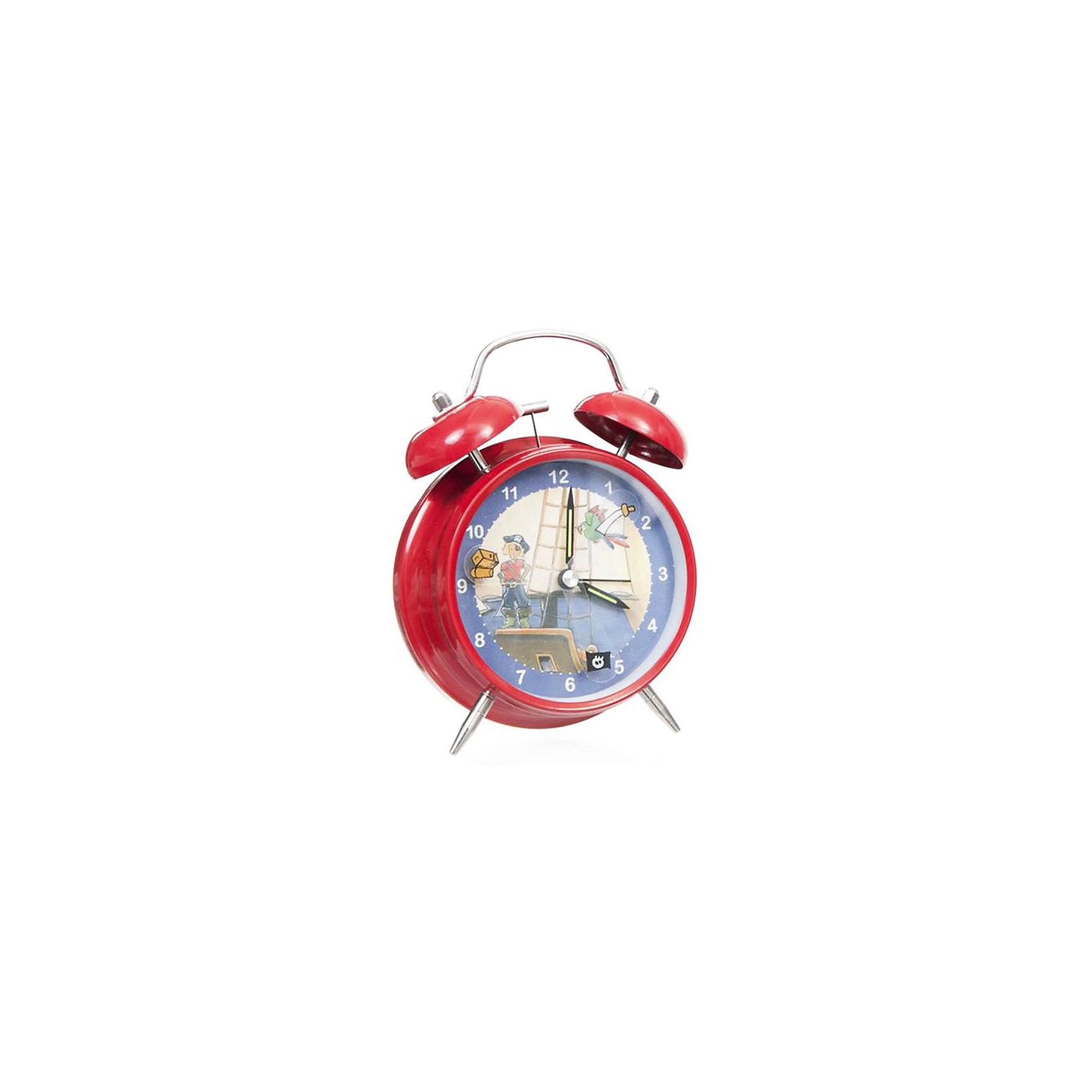 Настольные  часы-будильник  Пират электрические, EgmontПредметы интерьера<br>Настольные  часы-будильник Пират электрические, Egmont<br><br>Характеристики:<br><br>• Цвет: синий, красный<br>• Диаметр будильника: 12 см<br>• Возраст: от 3 лет<br>• Материал: металл, пластик<br>• Батарейки: AA / LR6 1.5V (пальчиковые)<br><br>Красивый будильник со смелым и любящим приключения пиратом станет отличным помощником для малыша. С таким будильником просыпаться в детский садик или школу будет интересно и весело. Часы не тикают, так как имеют встроенный бесшумный механизм, который способствует комфортному сну. Кроме этого на циферблате есть подсветка, которая поможет ребенку понять время, когда он внезапно проснулся ночью. Будильник изготовлен из качественного материала и безопасен для ребенка.<br><br>Настольные  часы-будильник Пират электрические, Egmont можно купить в нашем интернет-магазине.<br><br>Ширина мм: 120<br>Глубина мм: 120<br>Высота мм: 120<br>Вес г: 300<br>Возраст от месяцев: 36<br>Возраст до месяцев: 1188<br>Пол: Мужской<br>Возраст: Детский<br>SKU: 5163415