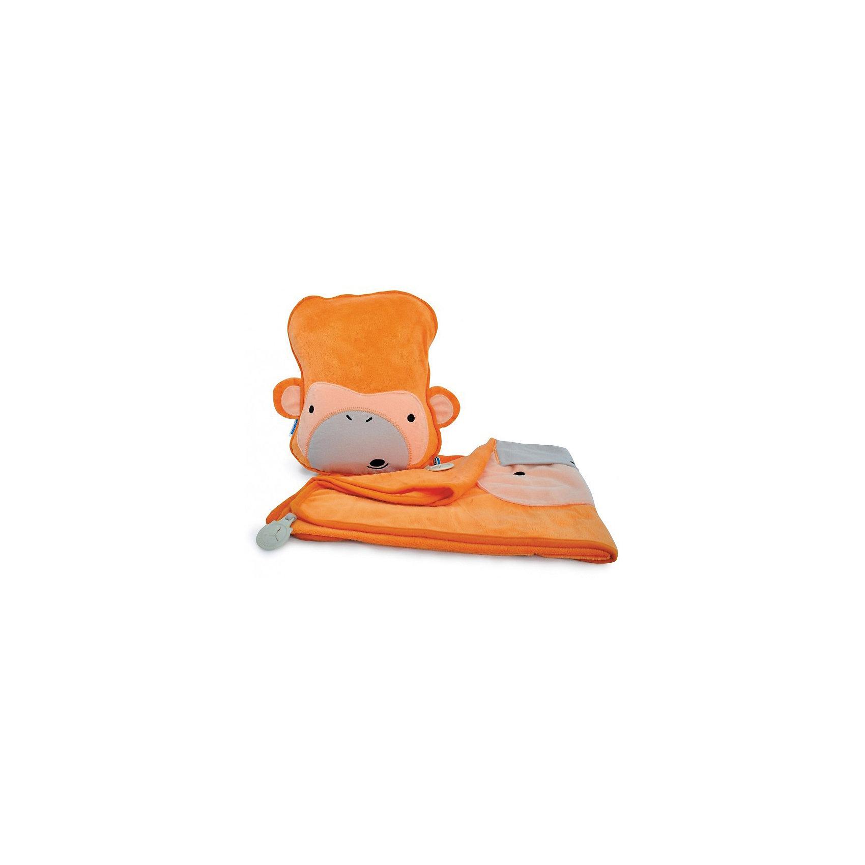 Подушка с пледом Обезьянка, TRUNKIПодушка с пледом Обезьянка, TRUNKI<br><br>Характеристики:<br><br>• Размер подушки: 26х21х7,5 см<br>• Размер пледа: 70х90 см<br>• Цвет: оранжевый<br>• Материал: текстиль, флис<br><br>Яркий и красивый набор в дорогу с обезьянкой сможет не только порадовать малыша, но и быть ему полезным. Красивая подушка и мягкий плед идеально подойдут для сна в путешествиях. Подушка легко и быстро надувается. Плед можно пристегнуть к подушке, защитив ребенка от того, что плед упадет. На пледе есть небольшой кармашек, в который можно посадить игрушку, чтобы сделать сон еще более комфортным вместе с любимым другом. Подушка и плед сделаны из качественного материала и полностью безопасны для детей.<br><br>Подушку с пледом Обезьянка, TRUNKI можно купить в нашем интернет-магазине<br><br>Ширина мм: 440<br>Глубина мм: 380<br>Высота мм: 310<br>Вес г: 440<br>Возраст от месяцев: 36<br>Возраст до месяцев: 1188<br>Пол: Унисекс<br>Возраст: Детский<br>SKU: 5164517