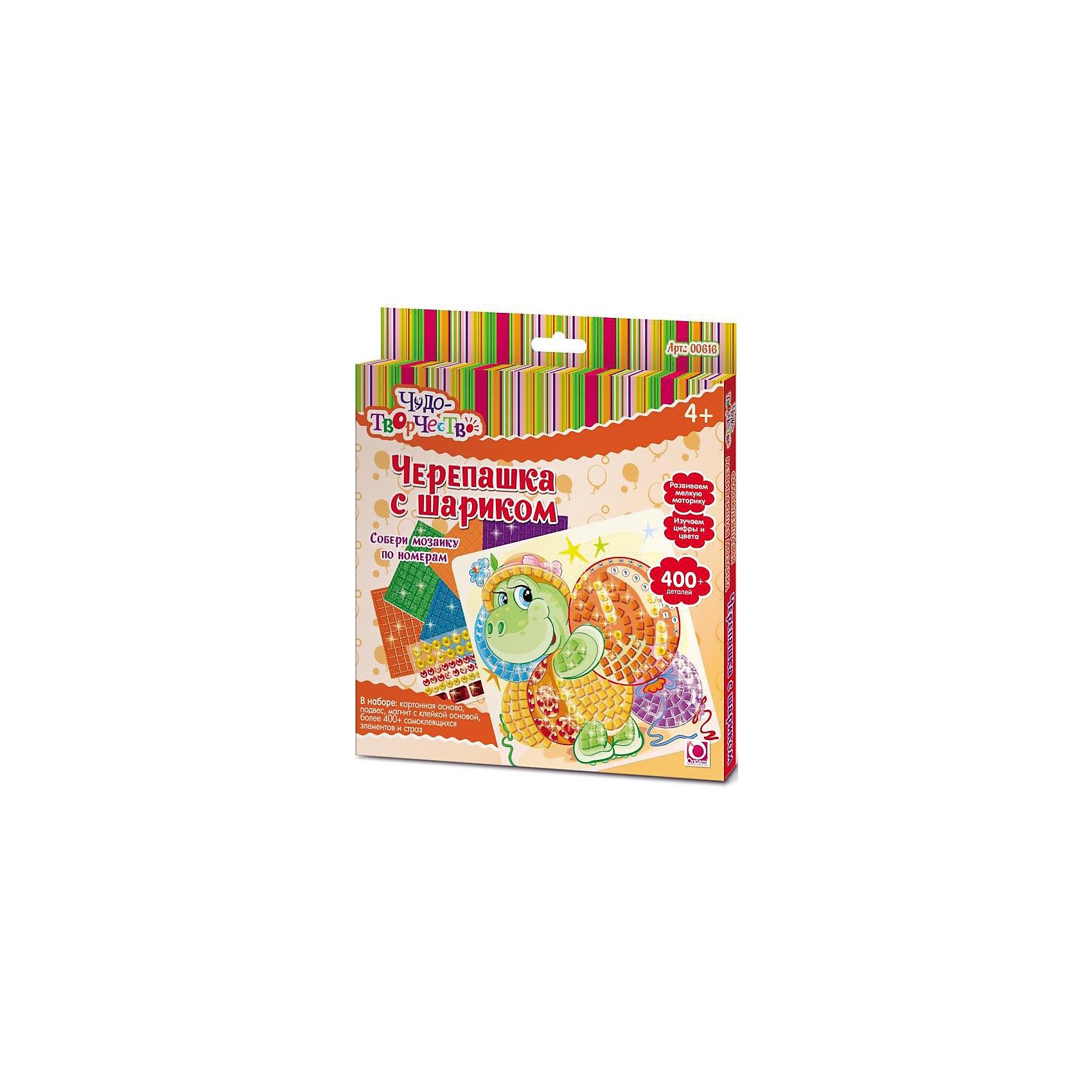 Мозаика Черепашка с шарикомМозаика детская<br>Мозаика Чудо-творчество с самоклеящимися элементами помогает изучить цвета и цифры, развивает мелкую моторику и воображение. В набор входит большее количество деталей, чем это нужно для изготовления картинки - сделай свою картинку и укрась ее стразами! После того, как мозаика готова, ее можно повесить на стену или прикрепить с помощью магнита на холодильник. Мозаику Чудо-творчество отличает высокое качество, авторские дизайны картинок, прекрасное наполнение.В наборе: картонная основа с картинкой (20x20см), 400+ самоклеящихся элементов и страз, подвес, магнит с клейкой основой. Рекомендованный возраст: 4+.<br><br>Ширина мм: 205<br>Глубина мм: 15<br>Высота мм: 230<br>Вес г: 130<br>Возраст от месяцев: 48<br>Возраст до месяцев: 84<br>Пол: Унисекс<br>Возраст: Детский<br>SKU: 5165779