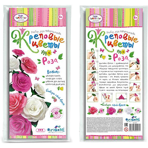 Креповые цветы своими руками Роза 3 цвета в ассортиментеБумага<br>Креповая бумага – удивительный материал для декорирования. Она обладает повышенной прочностью, а поделки из нее получаются очень красивые. Креповую бумагу легко отличить - она жатая, приятная на ощупь, ее богатая цветовая палитра открывает безграничные возможности для творчества. Цветы из такой бумаги порой сложно отличить от настоящих! В наборе все для создания 1 цветка. Собери свой букет! Рекомендуемый возраст: 6+<br><br>Ширина мм: 150<br>Глубина мм: 20<br>Высота мм: 350<br>Вес г: 70<br>Возраст от месяцев: 72<br>Возраст до месяцев: 108<br>Пол: Женский<br>Возраст: Детский<br>SKU: 5165796