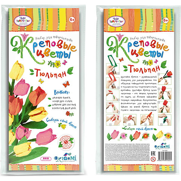 Креповые цветы своими руками Тюльпан 3 цвета в ассортиментеБумага<br>Креповая бумага – удивительный материал для декорирования. Она обладает повышенной прочностью, а поделки из нее получаются очень красивые. Креповую бумагу легко отличить - она жатая, приятная на ощупь, ее богатая цветовая палитра открывает безграничные возможности для творчества. Цветы из такой бумаги порой сложно отличить от настоящих! В наборе все для создания 1 цветка. Собери свой букет! Рекомендуемый возраст: 6+<br><br>Ширина мм: 150<br>Глубина мм: 20<br>Высота мм: 350<br>Вес г: 70<br>Возраст от месяцев: 72<br>Возраст до месяцев: 108<br>Пол: Женский<br>Возраст: Детский<br>SKU: 5165799