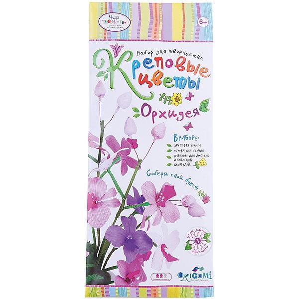 Креповые цветы своими руками Орхидея 3 цвета в ассортименте.Бумага<br>Креповая бумага – удивительный материал для декорирования. Она обладает повышенной прочностью, а поделки из нее получаются очень красивые. Креповую бумагу легко отличить - она жатая, приятная на ощупь, ее богатая цветовая палитра открывает безграничные возможности для творчества. Цветы из такой бумаги порой сложно отличить от настоящих! В наборе все для создания 1 цветка. Собери свой букет! Рекомендуемый возраст: 6+<br>Ширина мм: 150; Глубина мм: 20; Высота мм: 350; Вес г: 70; Возраст от месяцев: 72; Возраст до месяцев: 108; Пол: Женский; Возраст: Детский; SKU: 5165800;
