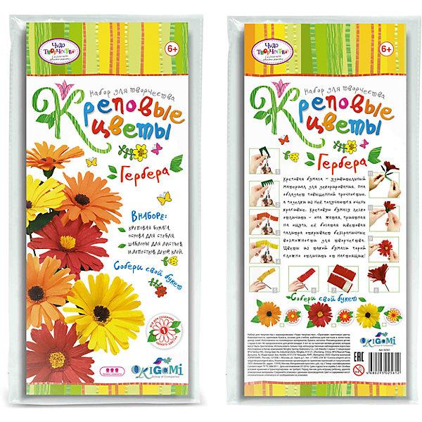 Креповые цветы своими руками Гербера 3 цвета в ассортименте.Бумага<br>Креповая бумага – удивительный материал для декорирования. Она обладает повышенной прочностью, а поделки из нее получаются очень красивые. Креповую бумагу легко отличить - она жатая, приятная на ощупь, ее богатая цветовая палитра открывает безграничные возможности для творчества. Цветы из такой бумаги порой сложно отличить от настоящих! В наборе все для создания 1 цветка. Собери свой букет! Рекомендуемый возраст: 6+<br><br>Ширина мм: 150<br>Глубина мм: 20<br>Высота мм: 350<br>Вес г: 70<br>Возраст от месяцев: 72<br>Возраст до месяцев: 108<br>Пол: Женский<br>Возраст: Детский<br>SKU: 5165801