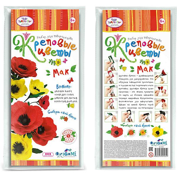 Креповые цветы своими руками Мак 2 цвета в ассортименте.Бумага<br>Креповая бумага – удивительный материал для декорирования. Она обладает повышенной прочностью, а поделки из нее получаются очень красивые. Креповую бумагу легко отличить - она жатая, приятная на ощупь, ее богатая цветовая палитра открывает безграничные возможности для творчества. Цветы из такой бумаги порой сложно отличить от настоящих! В наборе все для создания 1 цветка. Собери свой букет! Рекомендуемый возраст: 6+<br><br>Ширина мм: 150<br>Глубина мм: 20<br>Высота мм: 350<br>Вес г: 70<br>Возраст от месяцев: 72<br>Возраст до месяцев: 108<br>Пол: Женский<br>Возраст: Детский<br>SKU: 5165802