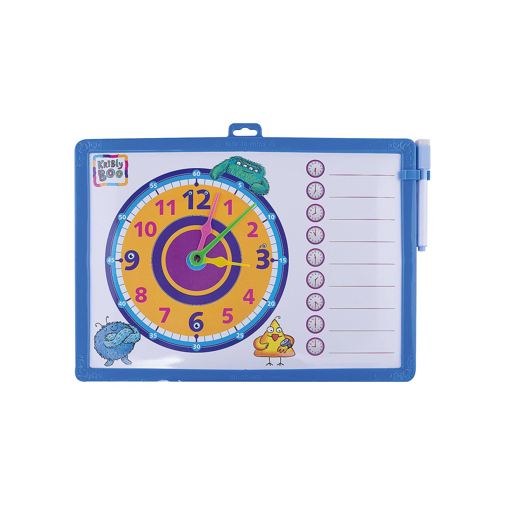 Доска-часы двусторонняя, с маркером (синяя)Рисование<br>Характеристики товара:<br><br>• цвет: синий<br>• материал: полимер<br>• размер: 25х34 см<br>• вес: 180 г<br>• комплектация: доска-часы, маркер<br>• возраст: от трех лет<br>• страна бренда: Финляндия<br>• страна изготовитель: Китай<br><br>Такая доска сделает учебу легче и интереснее! Доска выпонена в приятной яркой расцветке. С помощью неё ребенок легко научится узнавать время, сможет рисовать, а также будет тренировать внимательность, абстрактное мышление, логику, усидчивость. Комплект будет полезен собирающимся идти в школу, а также младшим школьникам. <br>На одной стороне изделия - часы, на другой - поверхность для рисования. Доска выпущена в удобном формате, со всеми необходимыми предметами в наборе. Изделие производится из качественных и проверенных материалов, которые безопасны для детей.<br><br>Доску-часы двустороннюю, с маркером от бренда KriBly Boo можно купить в нашем интернет-магазине.<br><br>Ширина мм: 340<br>Глубина мм: 250<br>Высота мм: 10<br>Вес г: 183<br>Возраст от месяцев: 36<br>Возраст до месяцев: 84<br>Пол: Мужской<br>Возраст: Детский<br>SKU: 5167801