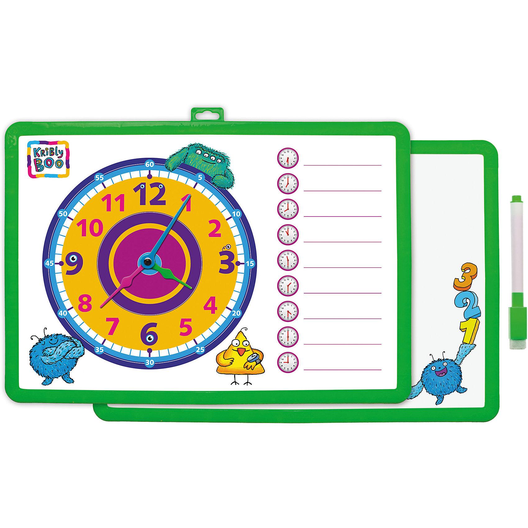 Доска-часы двусторонняя, с маркером (зеленая)Доски для рисования<br>Характеристики товара:<br><br>• цвет: зеленый<br>• материал: полимер<br>• размер: 25х34 см<br>• вес: 180 г<br>• комплектация: доска-часы, маркер<br>• возраст: от трех лет<br>• страна бренда: Финляндия<br>• страна изготовитель: Китай<br><br>Такая доска сделает учебу легче и интереснее! Доска выпонена в приятной яркой расцветке. С помощью неё ребенок легко научится узнавать время, сможет рисовать, а также будет тренировать внимательность, абстрактное мышление, логику, усидчивость. Комплект будет полезен собирающимся идти в школу, а также младшим школьникам. <br>На одной стороне изделия - часы, на другой - поверхность для рисования. Доска выпущена в удобном формате, со всеми необходимыми предметами в наборе. Изделие производится из качественных и проверенных материалов, которые безопасны для детей.<br><br>Доску-часы двустороннюю, с маркером от бренда KriBly Boo можно купить в нашем интернет-магазине.<br><br>Ширина мм: 340<br>Глубина мм: 250<br>Высота мм: 10<br>Вес г: 183<br>Возраст от месяцев: 36<br>Возраст до месяцев: 84<br>Пол: Унисекс<br>Возраст: Детский<br>SKU: 5167803