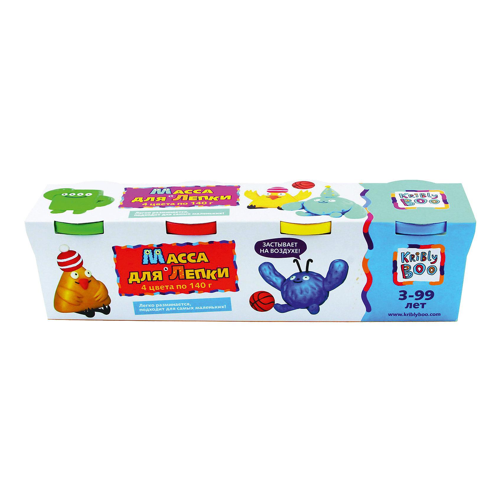 Масса для лепки, 4 шт. 140 гХарактеристики товара:<br><br>• цвет: разноцветный<br>• размер упаковки: 27 x 7 x 7 см<br>• вес: 700 г<br>• комплектация: 4 баночки<br>• вес одной баночки с массой: 140 г<br>• затвердевает на воздухе<br>• возраст: от трех лет<br>• упаковка: картонная коробка<br>• страна бренда: Финляндия<br>• страна изготовитель: Китай<br><br>Такой набор станет отличным подарком ребенку - ведь с помощью массы для лепки создавать фигуры легко и весело! В набор входят баночки с массой базовых цветов . Масса потом сама затвердевает на воздухе!<br>Детям очень нравится что-то делать своими руками! Кроме того, творчество помогает детям развивать важные навыки и способности, оно активизирует мышление, формирует усидчивость, творческие способности, мелкую моторику и воображение. Изделие производится из качественных и проверенных материалов, которые безопасны для детей.<br><br>Набор Масса для лепки, 4 шт. 140 г от бренда KriBly Boo можно купить в нашем интернет-магазине.<br><br>Ширина мм: 270<br>Глубина мм: 65<br>Высота мм: 68<br>Вес г: 677<br>Возраст от месяцев: 36<br>Возраст до месяцев: 84<br>Пол: Унисекс<br>Возраст: Детский<br>SKU: 5167826