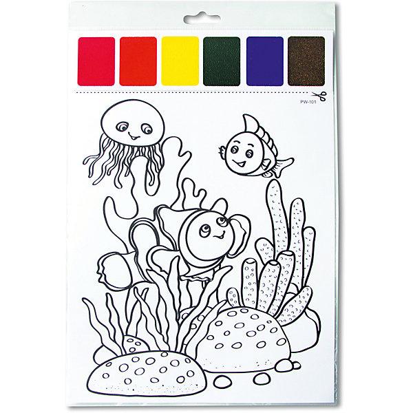 Набор для раскрашивания акварелью Подводный мирВодные раскраски<br>Характеристики товара:<br><br>• материал: картон<br>• размер: 22х32 см<br>• вес: 26 г<br>• комплектация: раскраска, палитра красок 6 цветов<br>• развивающая<br>• возраст: от трех лет<br>• страна бренда: Финляндия<br>• страна изготовитель: Китай<br><br>Такая раскраска станет отличным подарком малышам! Она отличается тем, что прямо на ней - акварельные краски! В палитре - 6 самых популярных оттенков, которых хватит для раскрашивания картинки. Изображения крупные, поэтому даже малышам будет легко их раскрасить. С помощью раскрашивания ребенок не только весело проведет время, он будет тренировать внимательность, абстрактное мышление, логику, усидчивость, мелкую моторику и творческие способности. <br>Раскраска выпущена в удобном формате. Изделие производится из качественных и проверенных материалов, которые безопасны для детей.<br><br>Набор для раскрашивания акварелью Подводный мир от бренда KriBly Boo можно купить в нашем интернет-магазине.<br>Ширина мм: 320; Глубина мм: 215; Высота мм: 3; Вес г: 26; Возраст от месяцев: 36; Возраст до месяцев: 84; Пол: Унисекс; Возраст: Детский; SKU: 5167828;