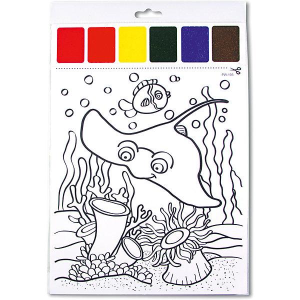 Набор для раскрашивания акварелью Обитатели глубин, с кисточкойНаборы для раскрашивания<br>Характеристики товара:<br><br>• материал: картон<br>• размер: 22х32 см<br>• вес: 26 г<br>• комплектация: раскраска, палитра красок 6 цветов, кисть<br>• развивающая<br>• возраст: от трех лет<br>• страна бренда: Финляндия<br>• страна изготовитель: Китай<br><br>Такая раскраска станет отличным подарком малышам! Она отличается тем, что прямо на ней - акварельные краски и кисть! В палитре - 6 самых популярных оттенков, которых хватит для раскрашивания картинки. Изображения крупные, поэтому даже малышам будет легко их раскрасить. С помощью раскрашивания ребенок не только весело проведет время, он будет тренировать внимательность, абстрактное мышление, логику, усидчивость, мелкую моторику и творческие способности. <br>Раскраска выпущена в удобном формате. Изделие производится из качественных и проверенных материалов, которые безопасны для детей.<br><br>Набор для раскрашивания акварелью Обитатели глубин, с кисточкой от бренда KriBly Boo можно купить в нашем интернет-магазине.<br><br>Ширина мм: 320<br>Глубина мм: 215<br>Высота мм: 3<br>Вес г: 27<br>Возраст от месяцев: 36<br>Возраст до месяцев: 84<br>Пол: Унисекс<br>Возраст: Детский<br>SKU: 5167831