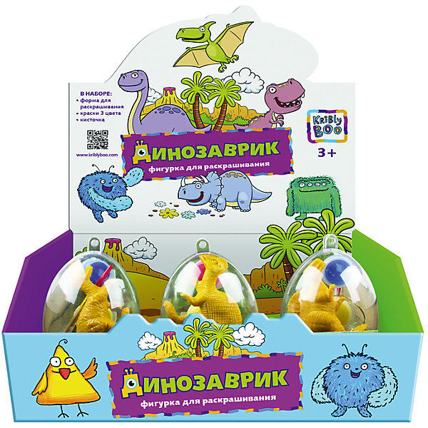 Набор для раскрашивания Динозавр в яйце, в ассортиментеНаборы для раскрашивания<br>Характеристики товара:<br><br>• материал: пластик<br>• размер: 31х24х9 см<br>• вес: 100 г<br>• комплектация: динозавр, краски 3 цвета, кисть<br>• упаковка: яйцо<br>• развивающая<br>• возраст: от трех лет<br>• страна бренда: Финляндия<br>• страна изготовитель: Китай<br><br>Такая раскраска станет отличным подарком малышам! Она отличается тем, что сделана в виде объемного динозавра! Ддля раскрашивания к ней прилагаются кисть и краски. С помощью раскрашивания ребенок не только весело проведет время, он будет тренировать внимательность, абстрактное мышление, логику, усидчивость, мелкую моторику и творческие способности. <br>Раскраска выпущена в удобном формате. Изделие производится из качественных и проверенных материалов, которые безопасны для детей.<br><br>Набор для раскрашивания Динозавр в яйце, в ассортименте, от бренда KriBly Boo можно купить в нашем интернет-магазине.<br><br>Ширина мм: 310<br>Глубина мм: 240<br>Высота мм: 90<br>Вес г: 111<br>Возраст от месяцев: 36<br>Возраст до месяцев: 84<br>Пол: Унисекс<br>Возраст: Детский<br>SKU: 5167838