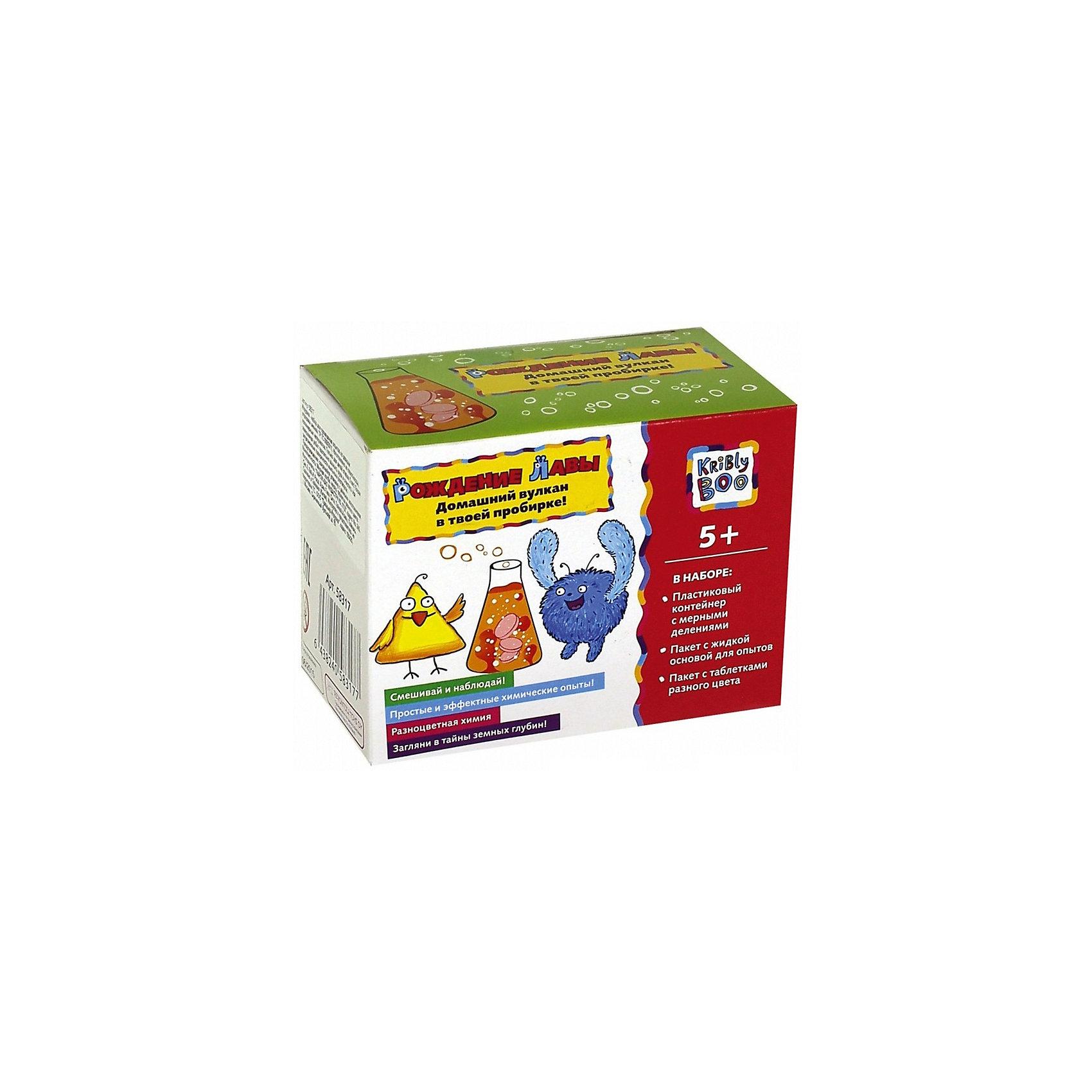 Набор научный Рождение лавыХарактеристики товара:<br><br>• размер упаковки: 2 x 26 x 33 см<br>• вес: 100 г<br>• комплектация: пластиковый контейнер с мерными делениями, пакет с жидкой основой для опытов, пакет с таблетками разного цвета<br>• возраст: от пяти лет<br>• упаковка: коробка<br>• страна бренда: Финляндия<br>• страна изготовитель: Китай<br><br>Такой набор станет отличным подарком ребенку - ведь с помощью него можно проводить интересные опыты! В набор входят различные предметы и реактивы, с помощью которых можно узнать о природе вулканов. Это отличный способ изучать химию!<br>Проведение опытов помогает детям развивать важные навыки и способности, оно активизирует мышление, формирует усидчивость, логику, мелкую моторику и воображение. Изделие производится из качественных и проверенных материалов, которые безопасны для детей.<br><br>Набор научный Рождение лавы от бренда KriBly Boo можно купить в нашем интернет-магазине.<br><br>Ширина мм: 330<br>Глубина мм: 260<br>Высота мм: 160<br>Вес г: 94<br>Возраст от месяцев: 60<br>Возраст до месяцев: 108<br>Пол: Унисекс<br>Возраст: Детский<br>SKU: 5167844