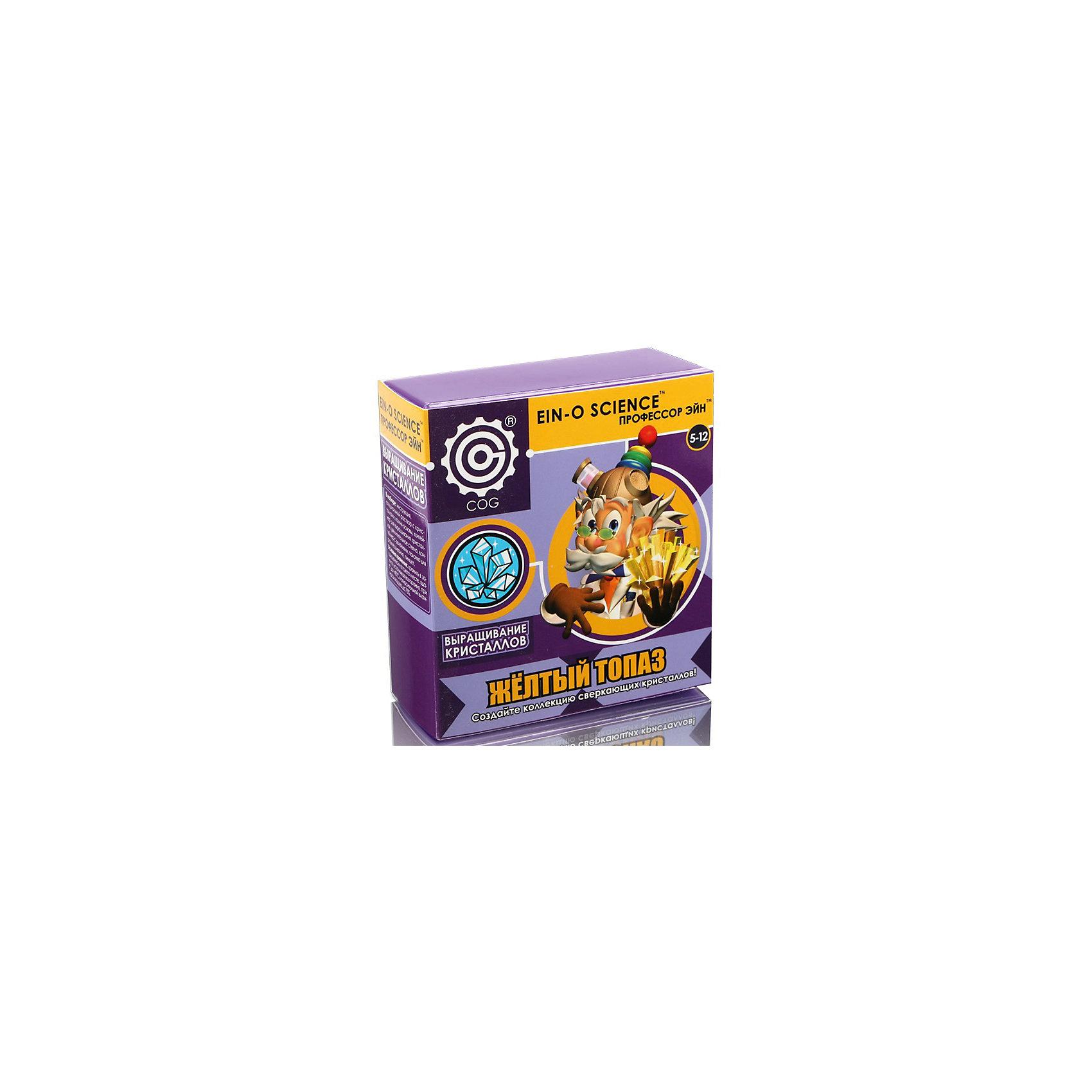 Жёлтый топаз, Профессор ЭйнКристаллы<br>Характеристики товара:<br><br>• цвет: разноцветный<br>• размер упаковки: 5 x 11 x 12 см<br>• вес: 200 г<br>• комплектация: мерный контейнер, контейнер для выращивания кристаллов, лупа, пинцет, основная порода - маленькие камни, палочка для смешивания, порошок для выращивания кристаллов<br>• возраст: от десяти лет<br>• упаковка: коробка<br>• страна бренда: Китай<br>• страна изготовитель: Китай<br><br>Такой набор станет отличным подарком ребенку - ведь с помощью него можно проводить интересные опыты! В набор входят различные предметы и вещества, с помощью которых можно вырастить кристалл. Это отличный способ изучать химию!<br>Проведение опытов помогает детям развивать важные навыки и способности, оно активизирует мышление, формирует усидчивость, логику, мелкую моторику и воображение. Изделие производится из качественных и проверенных материалов, которые безопасны для детей.<br><br>Набор Жёлтый топаз от бренда Профессор Эйн можно купить в нашем интернет-магазине.<br><br>Ширина мм: 50<br>Глубина мм: 114<br>Высота мм: 127<br>Вес г: 210<br>Возраст от месяцев: 72<br>Возраст до месяцев: 120<br>Пол: Унисекс<br>Возраст: Детский<br>SKU: 5168525