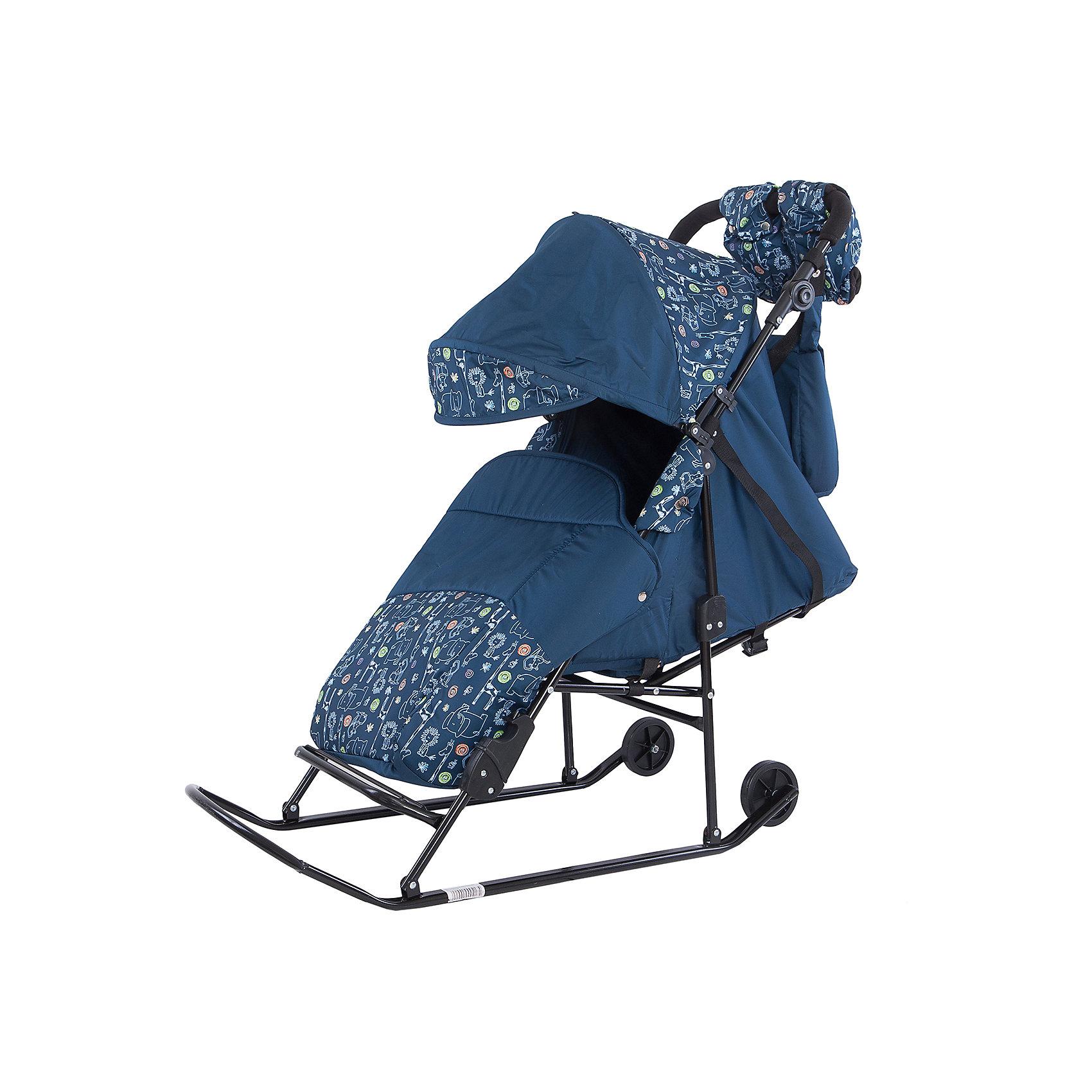 Санки-коляска ABC Academy Зимняя сказка 2В Авто, черная рама, синий/ЗоопаркС колесиками<br>Характеристики:<br><br>• Наименование: санки-коляска<br>• Сезон: зима<br>• Пол: для мальчика<br>• Материал: металл, пластик, текстиль<br>• Цвет: голубой, синий, черный<br>• Предусмотрено 5 положений спинки<br>• Регулируемая подставка для ног<br>• Наличие 2-х колесиков увеличенного диаметра<br>• Сумка в комплекте<br>• Наличие ремней безопасности<br>• Максимально допустимый вес: 25 кг<br>• Дополнительно: муфта для мамы и сумка для детских принадлежностей<br>• Размеры (Д*Ш*В): 70*34*100 см<br>• Вес: 9 кг<br><br>Санки-коляска Зимняя сказка 2В Авто, черная рама, ABC Academy,  синий/Зоопарк от отечественного производителя изготовлены из качественных и безопасных материалов. Конструкция санок выполнена в форме коляски для того, чтобы создать комфортные условия во время зимних прогулок для малышей. Защитный чехол на ножках, широкое сиденье, низкий козырек, непромокаемая и непродуваемая ткань – все это защитит малыша от зимней непогоды. Увеличенное по размерам посадочное место обеспечит свободу движений даже если ребенок будет в меховом конверте. Для удобства передвижения по незаснеженным участкам дороги предусмотрены два колесика на полозьях. Санки-коляска выполнены в стильном цвете я ярким принтом.<br><br>Санки-коляску Зимняя сказка 2В Авто, черная рама, ABC Academy,  синий/Зоопарк можно купить в нашем интернет-магазине.<br><br>Ширина мм: 1200<br>Глубина мм: 466<br>Высота мм: 260<br>Вес г: 9300<br>Возраст от месяцев: 12<br>Возраст до месяцев: 48<br>Пол: Мужской<br>Возраст: Детский<br>SKU: 5168631