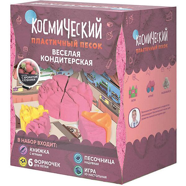 Набор Веселая кондитерская 1 кг, Космический песокКинетический песок<br>Характеристики товара:<br><br>• цвет: разноцветный<br>• размер упаковки: 26 x 23 x 8 см<br>• вес: 1500 г<br>• комплектация: большая надувная песочница, 1 кг песка розового цвета, 6 формочек для лепки, трехмерная настольная игра, книжка с развивающими играми и пошаговыми инструкциями<br>• песок с запахом клубники <br>• подходит для игр дома<br>• возраст: от двух лет<br>• упаковка: коробка<br>• страна бренда: РФ<br>• страна изготовитель: РФ<br><br>Такой набор станет отличным подарком ребенку - ведь с помощью кинетического песка можно создавать фигуры легко и весело! В набор входит целый килограмм песка и набор для игры с ним дома. Песок легко принимает нужную форму и так же легко распадается на песчинки. Играть можно бесконечно! Песок легко собирается, не красится и оставляет пятен на одежде.<br>Детям очень нравится что-то делать своими руками. Кроме того, творчество помогает детям развивать важные навыки и способности, оно активизирует мышление, формирует усидчивость, творческие способности, мелкую моторику и воображение. Изделие производится из качественных и проверенных материалов, которые безопасны для детей.<br><br>Набор Веселая кондитерская 1 кг, от бренда Космический песок можно купить в нашем интернет-магазине.<br><br>Ширина мм: 260<br>Глубина мм: 75<br>Высота мм: 230<br>Вес г: 1500<br>Возраст от месяцев: 36<br>Возраст до месяцев: 84<br>Пол: Женский<br>Возраст: Детский<br>SKU: 5168927