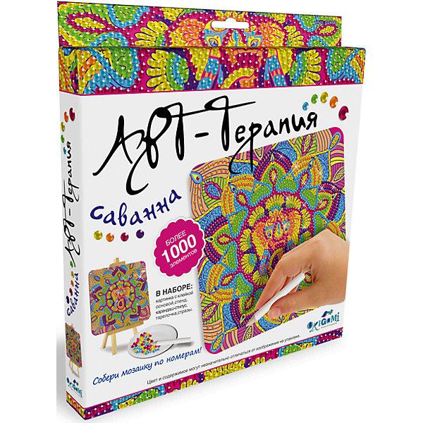 Арт-терапия,мозаика-алмазные узоры СаваннаМозаика детская<br>Новая серия мозаики Алмазные узоры (Чудо-творчество) с самоклеящимися элементами помогает изучить цвета и цифры, развивает мелкую моторику и воображение. <br>Сделать мозаику просто: возьми картинку, сними защитный слой, насыпь в тарелочку по очереди разные  цвета страз и с помощью специального карандаша переноси стразы на клейкую основу по номеру и цвету.  Готовую мозаику можно поставить на мольберт (входит в набор). <br>Мозаику Чудо-творчество отличает высокое качество, авторские дизайны картинок, хороший состав набора.<br><br>Ширина мм: 205<br>Глубина мм: 25<br>Высота мм: 230<br>Вес г: 164<br>Возраст от месяцев: 72<br>Возраст до месяцев: 108<br>Пол: Унисекс<br>Возраст: Детский<br>SKU: 5170275