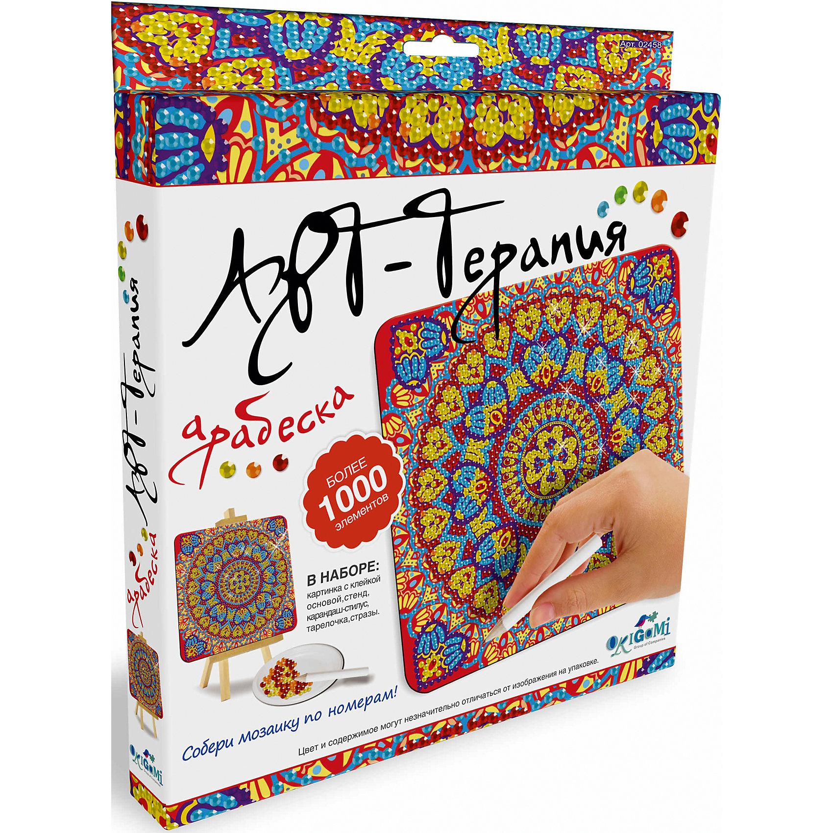Арт-терапия, мозаика-алмазные узоры АрабескаМозаика<br>Новая серия мозаики Алмазные узоры (Чудо-творчество) с самоклеящимися элементами помогает изучить цвета и цифры, развивает мелкую моторику и воображение. <br>Сделать мозаику просто: возьми картинку, сними защитный слой, насыпь в тарелочку по очереди разные  цвета страз и с помощью специального карандаша переноси стразы на клейкую основу по номеру и цвету.  Готовую мозаику можно поставить на мольберт (входит в набор). <br>Мозаику Чудо-творчество отличает высокое качество, авторские дизайны картинок, хороший состав набора.<br><br>Ширина мм: 205<br>Глубина мм: 25<br>Высота мм: 230<br>Вес г: 164<br>Возраст от месяцев: 72<br>Возраст до месяцев: 108<br>Пол: Унисекс<br>Возраст: Детский<br>SKU: 5170277