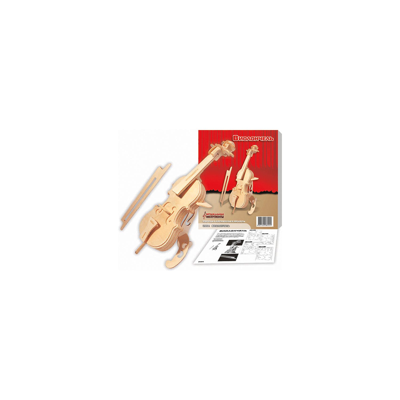 Виолончель, Мир деревянных игрушекДеревянные модели<br>Характеристики товара:<br><br>• размер упаковки: 18x3x23 см<br>• вес: 333 г<br>• материал: дерево<br>• для сборки<br>• возраст: от пяти лет<br>• упаковка: картонная коробка<br>• страна бренда: РФ<br>• страна изготовитель: Китай<br><br>Такой набор станет отличным подарком ребенку - ведь с помощью него можно собрать виолончель, так похожую на настоящую! В набор входят детали и инструкция по сборке. Это отличный способ занять ребенка!<br>Создание чего-либо своими руками помогает детям развивать важные навыки и способности, оно активизирует мышление, формирует усидчивость, логику, мелкую моторику и воображение. Изделие производится из качественных и проверенных материалов, которые безопасны для детей.<br><br>Виолончель от бренда Мир деревянных игрушек можно купить в нашем интернет-магазине.<br><br>Ширина мм: 185<br>Глубина мм: 30<br>Высота мм: 230<br>Вес г: 333<br>Возраст от месяцев: 36<br>Возраст до месяцев: 120<br>Пол: Унисекс<br>Возраст: Детский<br>SKU: 5171423