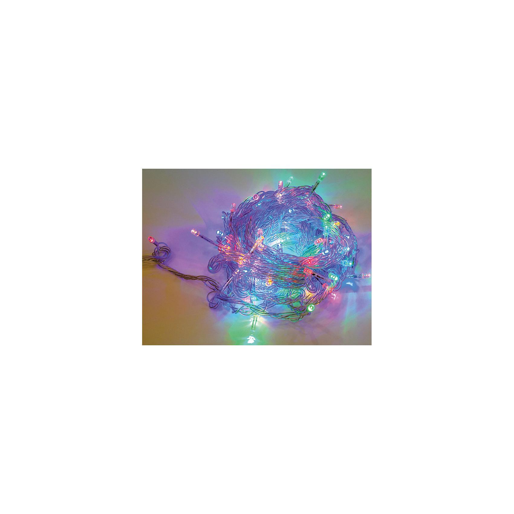 Электрогирлянда 100LED цветного свечения, прозрачный провод 8м, 8 режимовВсё для праздника<br>Электрические гирлянды – важный атрибут новогодних праздников. С их помощью украшают не только елки, но и окна, подъезды, фасады домов. <br> Гирлянда электрическая состоит из 100 LED -лампочек цветного свечения. <br> Прозрачный провод длиной 8 м . <br> Кол-во режимов работы – 8.<br><br>Ширина мм: 140<br>Глубина мм: 90<br>Высота мм: 80<br>Вес г: 0<br>Возраст от месяцев: 72<br>Возраст до месяцев: 540<br>Пол: Унисекс<br>Возраст: Детский<br>SKU: 5171931