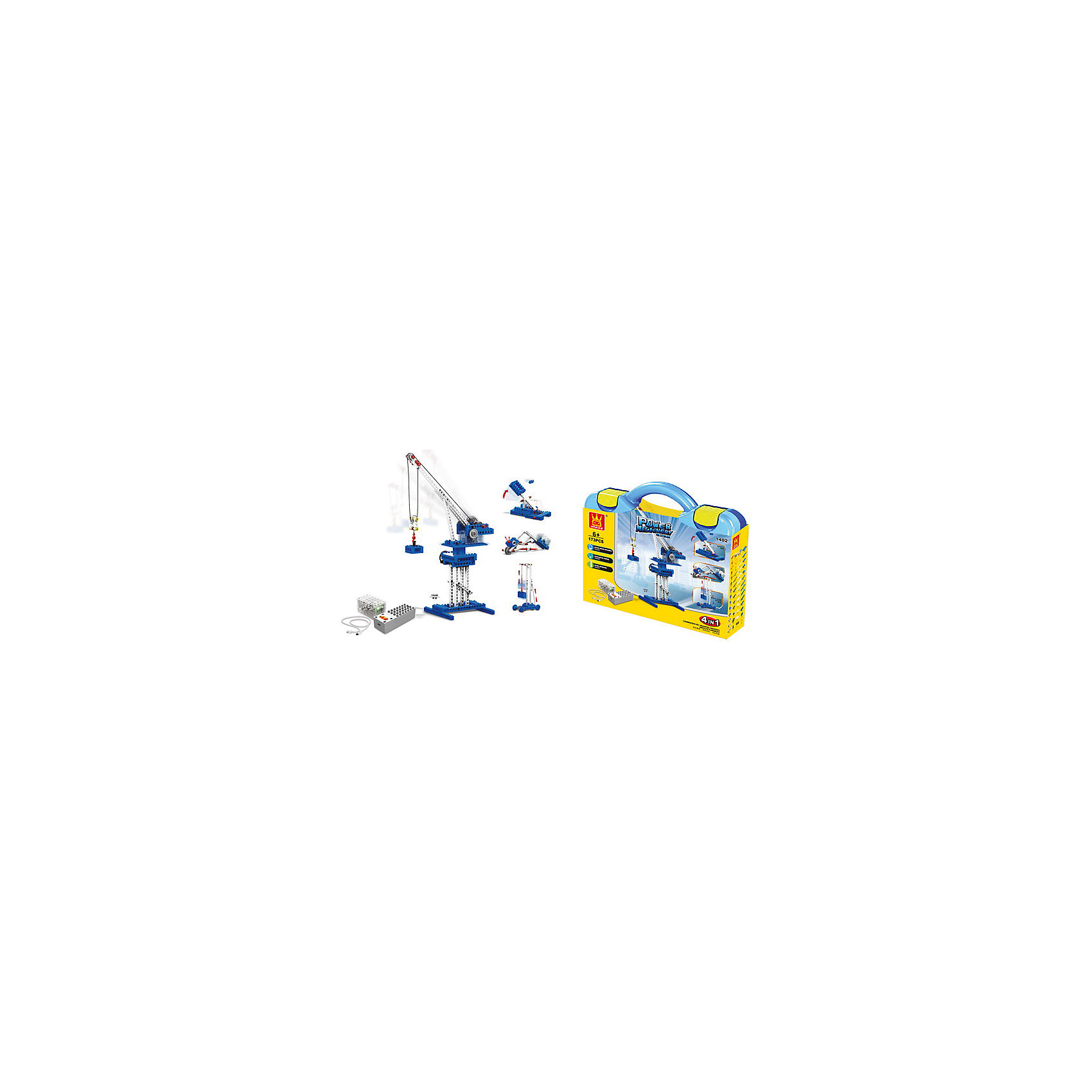 Конструктор Башенный кран 4 в1, с проводным пультом управления, 173 предм., JUNFA