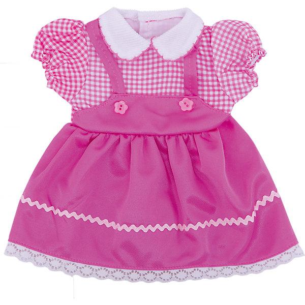Одежда для кукол: розовое платье, JUNFAОдежда для кукол<br>Характеристики:<br><br>• тип игрушки: одежда для кукол;<br>• возраст: от 1 года;<br>• цвет: розовый;<br>• размер: 26х36 см;<br>•комплект: платье, вешалка;<br>• бренд: Junfa Toys;<br>• упаковка: пакет;<br>• материал: пластик, текстиль.<br><br>Одежда для кукол «Платье розового цвета» JUNFA позволит ребенку украсить куклу одеждой. Одежда для кукол выполнена из приятного на ощупь текстиля высокого качества, а надёжные аккуратные швы обеспечат изделию долгий срок службы.  <br>Одев игрушку в это яркое розовое платьице с коротким рукавом-фонариком, ее можно взять с собой на прогулку. А декоративный белый воротничок и пуговки сделают внешний вид куклы еще более модным и стильным. <br><br>В комплекте также предусмотрена яркая вешалка, с помощью которой малышкам будет удобнее хранить наряд в шкафу. Одежду можно по необходимости стирать в щадящем режиме, не боясь, что она потеряет цвет и форму.<br><br>Одежду для кукол «Платье розового цвета» JUNFA можно купить в нашем интернет-магазине.<br><br>Ширина мм: 255<br>Глубина мм: 360<br>Высота мм: 10<br>Вес г: 72<br>Возраст от месяцев: 36<br>Возраст до месяцев: 1188<br>Пол: Женский<br>Возраст: Детский<br>SKU: 5173029