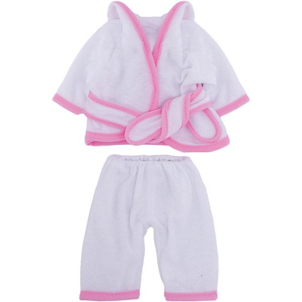 Одежда для кукол: белый банный халатик, JUNFAОдежда для кукол<br>Характеристики:<br><br>• тип игрушки: банный халатик;<br>• возраст: от 3 года;<br>• цвет: розовый;<br>• размер: 25x2x38 см; <br>• высота куклы: 27 см;<br>•комплект: халатик, вешалка;<br>• бренд: Junfa Toys;<br>• упаковка: пакет;<br>• материал: пластик, текстиль.<br><br>Одежда для кукол «Банный халатик» JUNFA позволит ребенку украсить куклу одеждой. Одежда для кукол выполнена из приятного на ощупь текстиля высокого качества, а надёжные аккуратные швы обеспечат изделию долгий срок службы.   Набор состоит из банного халатика с глубоким капюшоном и ремешком, а также широких штанишек.<br> <br>Все предметы одежды сшиты из качественных тканей в белом цвете, декорированы контрастным кантом. Сюжетно-ролевые игры с куклами будут способствовать развитию у девочки чувства ответственности, мелкой моторики рук, воображения и вкуса. Халатик отлично подойдет для кукол и пупсов ростом около 27 см. <br><br>В комплекте также предусмотрена яркая вешалка, с помощью которой малышкам будет удобнее хранить наряд в шкафу. Одежду можно по необходимости стирать в щадящем режиме, не боясь, что она потеряет цвет и форму.<br><br>Одежду для кукол «Банный халатик»  JUNFA можно купить в нашем интернет-магазине.<br>Ширина мм: 250; Глубина мм: 20; Высота мм: 380; Вес г: 94; Возраст от месяцев: 36; Возраст до месяцев: 1188; Пол: Женский; Возраст: Детский; SKU: 5173033;