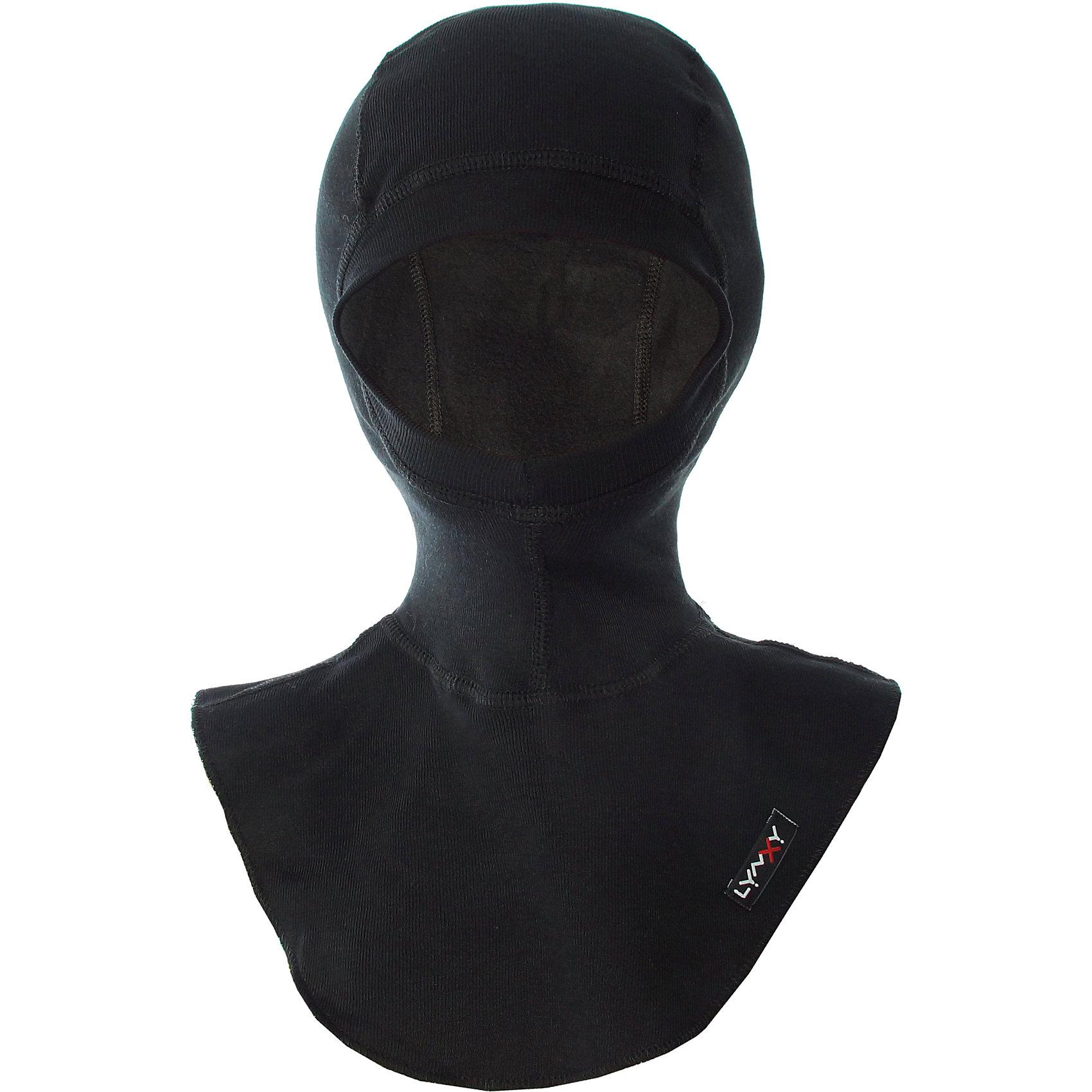 Шапка-шлем LynxyГоловные уборы<br>Шапка-шлем от известного бренда Lynxy.<br>Детский подшлемник выполнен из мягкого термополотна Trevira с микроначесом с изнаночной стороны. Благодаря эластичному и мягкому полотну приятно к телу, плоские швы и эргономические лекала обеспечивают комфортное прилегание изделия. Идеально сохраняет тепло и выводит влагу, позволяя коже оставаться сухой. Благодаря присутствию ионов серебра в структуре полотна, имеет противомикробные свойства. Идеально подходит для длительных прогулок и активных занятий спортом в холодное время года до - 30 градусов. Рекомендуется деликатная машинная стирка при температуре 30 градусов без предварительного замачивания.<br>Состав:<br>полиэстер 95% + вискоза 5%<br><br>Ширина мм: 89<br>Глубина мм: 117<br>Высота мм: 44<br>Вес г: 155<br>Цвет: черный<br>Возраст от месяцев: 60<br>Возраст до месяцев: 120<br>Пол: Унисекс<br>Возраст: Детский<br>Размер: 54<br>SKU: 5173108
