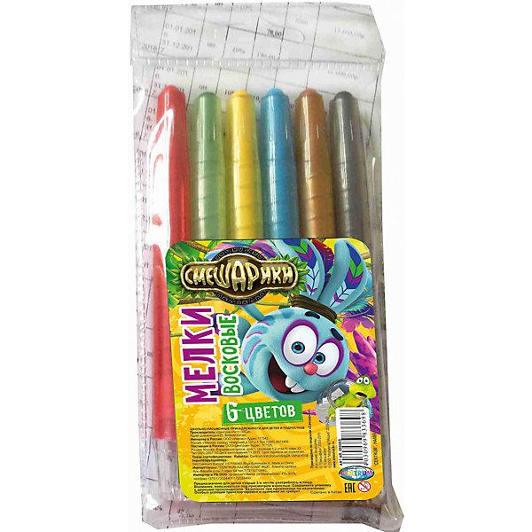 Мелки восковые выкручивающиеся Смешарики 6 цветовМасляные и восковые мелки<br>Мелки восковые выкручивающиеся Смешарики, 6 цветов, Centrum (Центрум)<br><br>Характеристики:<br><br>• яркие цвета<br>• безопасны для ребенка<br>• привлекательный дизайн с любимыми героями<br>• в комплекте: мелки 6 цветов(синий, красный, зеленый, желтый. черный, коричневый)<br>• материал: воск, красители, пластик<br>• размер: 14,5х7х1 см<br><br>Восковые мелки Смешарики отлично подойдут для создания первых шедевров ребенка. Они изготовлены из воска, безопасного для детей. Мелки выкручиваются, что позволяет защитит их от возможных поломок. В набор входят 6 ярких цветов. С их помощью ребенок сможет создать самую прекрасную картину на радость близким!<br><br>Мелки восковые выкручивающиеся Смешарики, 6 цветов, Centrum (Центрум) вы можете купить в нашем интернет-магазине.<br><br>Ширина мм: 10<br>Глубина мм: 70<br>Высота мм: 145<br>Вес г: 44<br>Возраст от месяцев: 36<br>Возраст до месяцев: 120<br>Пол: Унисекс<br>Возраст: Детский<br>SKU: 5175352