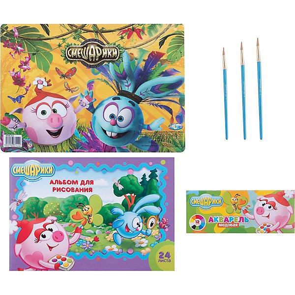 Набор для рисования Смешарики (6 предметов)Наборы для раскрашивания<br>Набор для рисования Смешарики (6 предметов), Centrum (Центрум)<br><br>Характеристики:<br><br>• содержит всё необходимое для творчества<br>• приятный дизайн с героями мультфильма Смешарики<br>• в комплекте: альбом (24 листа), акварель (12 цветов), кисточки №8,10,12, покрытие на стол А4<br><br>Набор Смешарики от Centrum станет прекрасным подарком для любителей рисования. В комплект входит альбом, набор ярких красок, кисточки трёх размеров и покрытие для стола. Покрытие украшено изображением из мультфильма Смешарики. Оно защитит стол от красок и подарит ребенку хорошее настроение!<br><br>Набор для рисования Смешарики (6 предметов), Centrum (Центрум) можно купить в нашем интернет-магазине.<br><br>Ширина мм: 25<br>Глубина мм: 345<br>Высота мм: 245<br>Вес г: 285<br>Возраст от месяцев: 36<br>Возраст до месяцев: 120<br>Пол: Унисекс<br>Возраст: Детский<br>SKU: 5175355