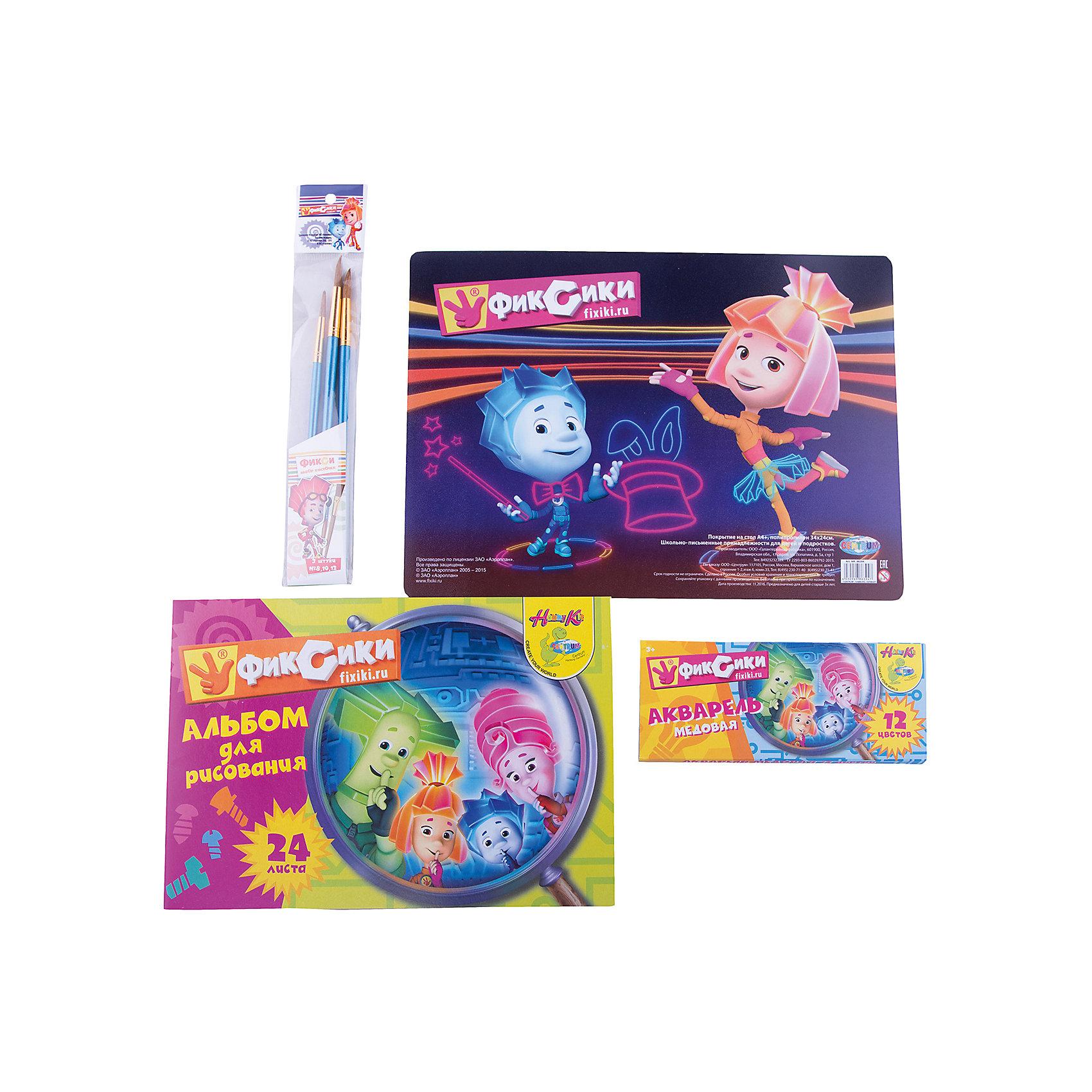 Набор для рисования Фиксики (6 предметов)Популярные игрушки<br>Набор для рисования Фиксики (6 предметов), Centrum (Центрум)<br><br>Характеристики:<br><br>• содержит всё необходимое для творчества<br>• приятный дизайн с героями мультфильма Фиксики<br>• в комплекте: альбом (24 листа), акварель (12 цветов), кисточки №8,10,12, покрытие на стол А4<br><br>Набор Фиксики от Centrum станет прекрасным подарком для любителей рисования. В комплект входит альбом, набор ярких красок, кисточки трёх размеров и покрытие для стола. Покрытие украшено изображением из мультфильма Фиксики. Оно защитит стол от красок и подарит ребенку хорошее настроение!<br><br>Набор для рисования Фиксики (6 предметов), Centrum (Центрум) можно купить в нашем интернет-магазине.<br><br>Ширина мм: 25<br>Глубина мм: 345<br>Высота мм: 245<br>Вес г: 285<br>Возраст от месяцев: 36<br>Возраст до месяцев: 120<br>Пол: Унисекс<br>Возраст: Детский<br>SKU: 5175374