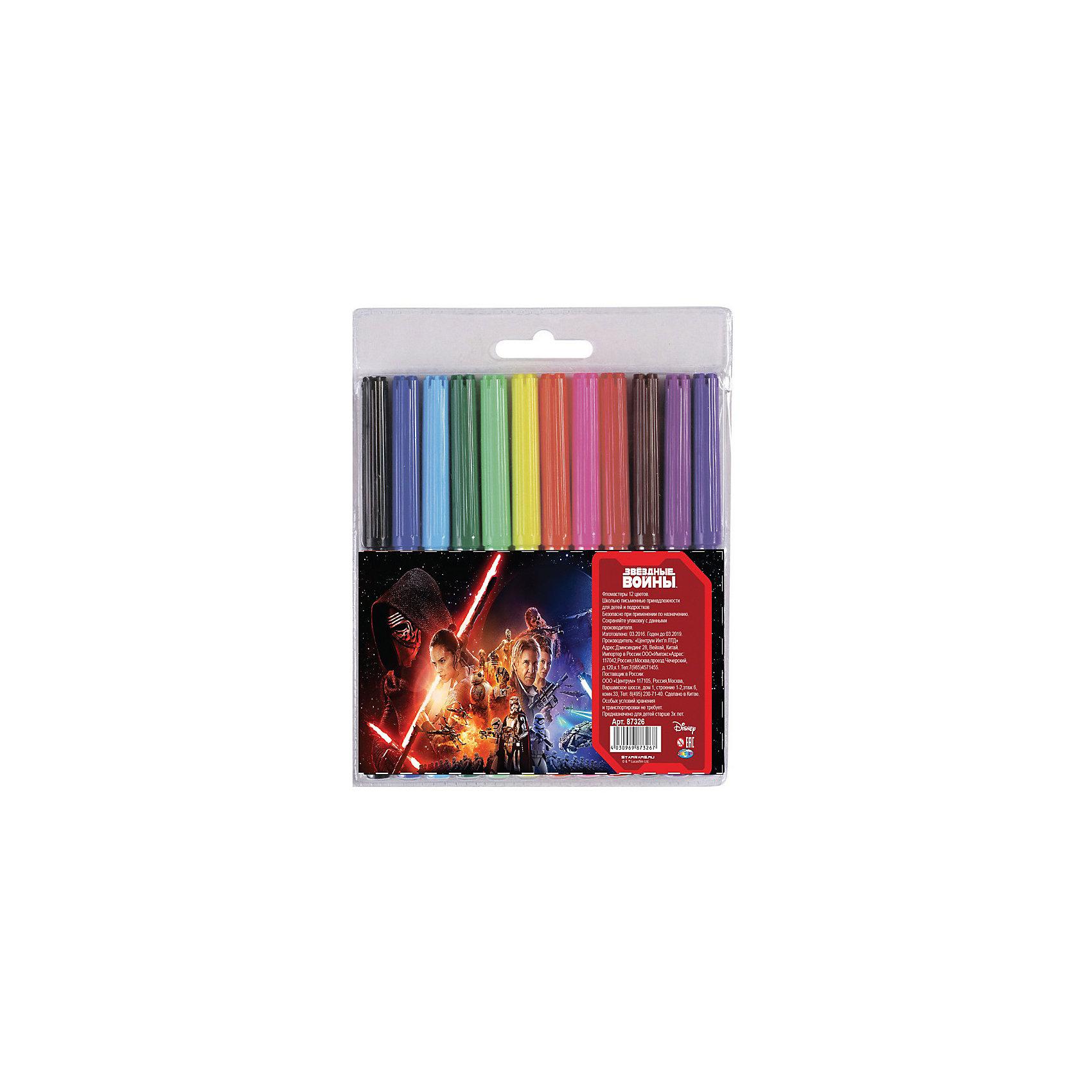 Фломастеры Звездные войны 12 цветовРисование<br>Фломастеры Звездные войны 12 цветов, Centrum (Центрум)<br><br>Характеристики:<br><br>• яркие цвета<br>• вентилируемый колпачок<br>• в комплекте: фломастеры 12 цветов<br>• размер упаковки: 16х13,5 см<br><br>Яркие фломастеры, несомненно, необходимы каждому маленькому художнику. Набор из серии Звездные войны состоит из 12-и фломастеров. Каждый имеет яркий цвет, прочный закругленный стержень и вентилируемый колпачок, который позволит избежать высыхания. Упаковка украшена изображением героев легендарной киносаги Звездные войны, которые вдохновят ребенка на создание новых шедевров.<br><br>Фломастеры Звездные войны 12 цветов, Centrum (Центрум) вы можете купить в нашем интернет-магазине.<br><br>Ширина мм: 10<br>Глубина мм: 125<br>Высота мм: 158<br>Вес г: 80<br>Возраст от месяцев: 36<br>Возраст до месяцев: 120<br>Пол: Мужской<br>Возраст: Детский<br>SKU: 5175394