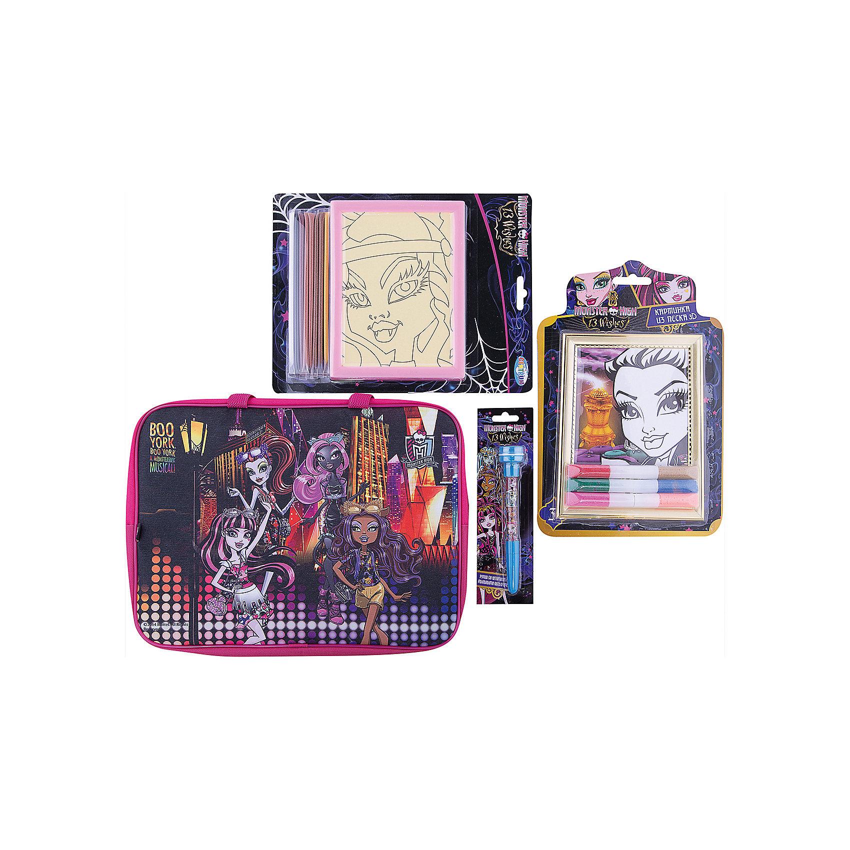 Набор для творчества Мonster High (4 предмета)Monster High<br>Набор для творчества Мonster High (4 предмета)<br><br>Характеристики:<br><br>- в набор входит: набор с цветным песком 3D, ручка 3 в 1, картинка для раскрашивания цветным песком текстильная папка-сумка <br>- состав: текстиль, пластик, песок, картон <br>- размер сумки: 26 * 4 * 35 см.<br>- для детей в возрасте: от 4 до 7 лет<br>- Страна производитель: Китай<br><br>Набор для творчества Monster High (Школа Монстров) вместе с любимыми героями придет по вкусу девочкам. Немецкая компания Centrum (Центрум) специализируется на товарах для детского творчества и развития, а также имеет необходимую лицензию для производства товаров с героями и логотипом популярного мультфильма Monster High (Школа Монстров). Набор с цветным песком включает в себя картинку-шаблон с контуром и клеевой сторой, на которую нужно аккуратно высыпать цветной песочек. Цветным песком в наборе с 3D картинкой блестящий и содержит клей в своем составе, сама картинка имеет объемную рамку и объемные детали. Ручка может писать, ставить штампики и выпускать мыльные пузыри. Удобная папка-сумка с двумя ручками будет хранить поделки девочки или может использоватья для других целей. Работа с творческими наборами разрабатывает моторику рук, творческие способности, воображение, восприятие цветов и форм, помогает развить аккуратность и внимание. <br><br>Набор для творчества Мonster High (4 предмета) можно купить в нашем интернет-магазине.<br><br>Ширина мм: 50<br>Глубина мм: 360<br>Высота мм: 280<br>Вес г: 515<br>Возраст от месяцев: 36<br>Возраст до месяцев: 120<br>Пол: Женский<br>Возраст: Детский<br>SKU: 5175420