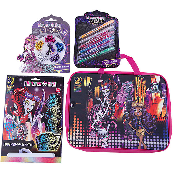 Набор для творчества Мonster High (4 предмета)Monster High<br>Набор для творчества Мonster High (4 предмета)<br><br>Характеристики:<br><br>- в набор входит: гравюры-магниты, набор ручек-тату, набор бусин для браслетов, текстильная папка-сумка <br>- состав: текстиль, пластик, картон <br>- размер сумки: 26 * 4 * 35 см.<br>- для детей в возрасте: от 4 до 7 лет<br>- Страна производитель: Китай<br><br>Набор для творчества Monster High (Школа Монстров) вместе с любимыми героями придет по вкусу девочкам. Немецкая компания Centrum (Центрум) специализируется на товарах для детского творчества и развития, а также имеет необходимую лицензию для производства товаров с героями и логотипом популярного мультфильма Monster High (Школа Монстров). В набор с гравюрой входит специальный штрихель, а также картинки-магниты с нанесенным контуром и черной краской, которую нужно аккуратно снимать штрихелем. Набор магнитов с любимыми драконами будет радовать их владелицу везде. Цветные ручки рисуют временные татуировки, которые безопасны для кожи. С помощью набора для браслетов можно создать свой уникальный стиль. Удобная папка-сумка с двумя ручками будет хранить поделки девочки или может использоватья для других целей. Работа с творческими наборами разрабатывает моторику рук, творческие способности, воображение, восприятие цветов и форм, помогает развить аккуратность и внимание. <br><br>Набор для творчества Мonster High (4 предмета) можно купить в нашем интернет-магазине.<br><br>Ширина мм: 50<br>Глубина мм: 360<br>Высота мм: 280<br>Вес г: 430<br>Возраст от месяцев: 36<br>Возраст до месяцев: 120<br>Пол: Женский<br>Возраст: Детский<br>SKU: 5175421