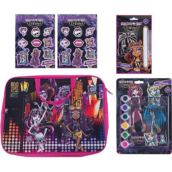 Набор для творчества Мonster High (4 предмета)Monster High<br>Набор для творчества Мonster High (4 предмета)<br><br>Характеристики:<br><br>- в набор входит: сумочка-папка, гравюра, витраж, наклейки для тетрадей <br>- состав: текстиль, пластик, картон, акриловые краски, кисть<br>- для детей в возрасте: от 6 до 12 лет<br>- страна производитель: Российская Федерация<br><br>Набор для творчества Monster High (Школа Монстров) от немецкого бренда Centrum (Центрум) придет по вкусу девочкам. Целых два задания лежат в этой яркой папочке на молнии. Гравюра героини мультфильма станет очень интересным и новым занятием, контур уже имеется, нужно просто использовать штрихель из набора, чтобы соскрести черную краску и добавить радужного цвета. Витражная картинка 17-19 см.со вложенными акриловыми красками научит технике росписи витражей, сам витраж выполнен из пластика. Сумочка-папка может хранить шедевры ребенка. Работа с таким набором ребенок развивает моторику рук, воображение, усидчивость, аккуратность и внимание. Набор станет отличным подарком обладательницам кукл Monster High (Школа Монстров) и любительницам этого мультсериала про школу. <br><br>Набор для творчества Мonster High (4 предмета) можно купить в нашем интернет-магазине.<br>Ширина мм: 50; Глубина мм: 360; Высота мм: 280; Вес г: 330; Возраст от месяцев: 36; Возраст до месяцев: 120; Пол: Женский; Возраст: Детский; SKU: 5175422;
