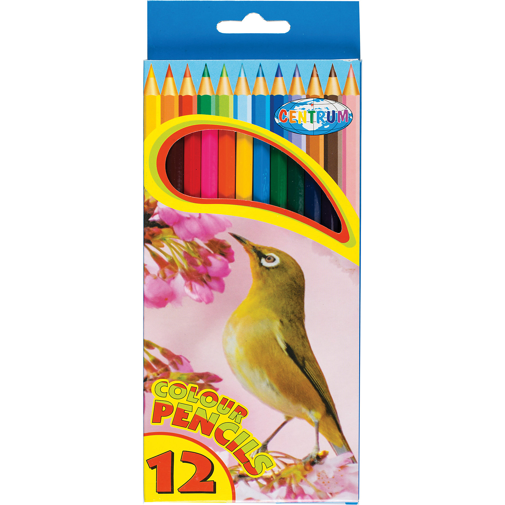 CENTRUM Длинные цветные карандаши, 12 цветов centrum цветные карандаши фиксики 12 цветов в металическом тубусе с точилкой