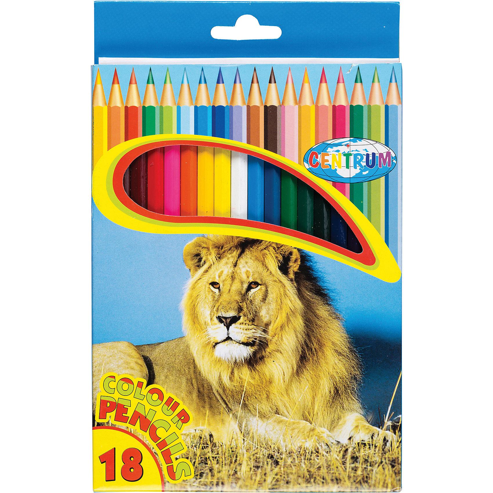 CENTRUM Длинные цветные карандаши, 18 цветов centrum цветные карандаши jumbo жираф 6 цветов