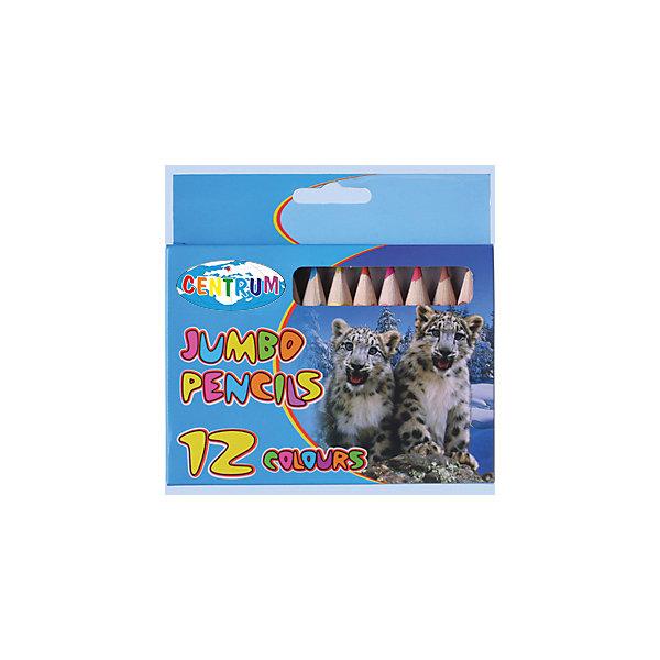 Цветные карандаши Jumbo, 12 цветовЦветные<br>Цветные карандаши Jumbo, 12 цветов<br><br>Характеристики:<br><br>- в набор входит: 12 карандашей <br>- состав: дерево, картон<br>- длина карандашей: 12 см. <br>- размер упаковки: 14  * 1 * 24 см.<br>- для детей в возрасте: от 3 до 10 лет<br>- страна производитель: Китай<br><br>Набор цветных карандашей с рисунком котят снежного барса понравится и мальчику и девочке. Немецкая компания Centrum (Центрум) специализируется на товарах для детского творчества и развития. Яркая коробочка выполнена из картона и отлично вмещает все карандаши, не позволяя им разбегаться по столу или школьному ранцу. Утолщенные карандаши (1,25 см.) имеют шесть граней, мягкие и рисуют яркие линии без сильного нажима. Классические двенадцать цветов помогут нарисовать самый лучший шедевр и просто отлично провести время. Рисование карандашами разрабатывает моторику ручек, творческие способности, успокаивает, помогает развить аккуратность и внимание. <br><br>Цветные карандаши Jumbo, 12 цветов можно купить в нашем интернет-магазине.<br>Ширина мм: 12; Глубина мм: 130; Высота мм: 125; Вес г: 76; Возраст от месяцев: 36; Возраст до месяцев: 120; Пол: Унисекс; Возраст: Детский; SKU: 5175446;