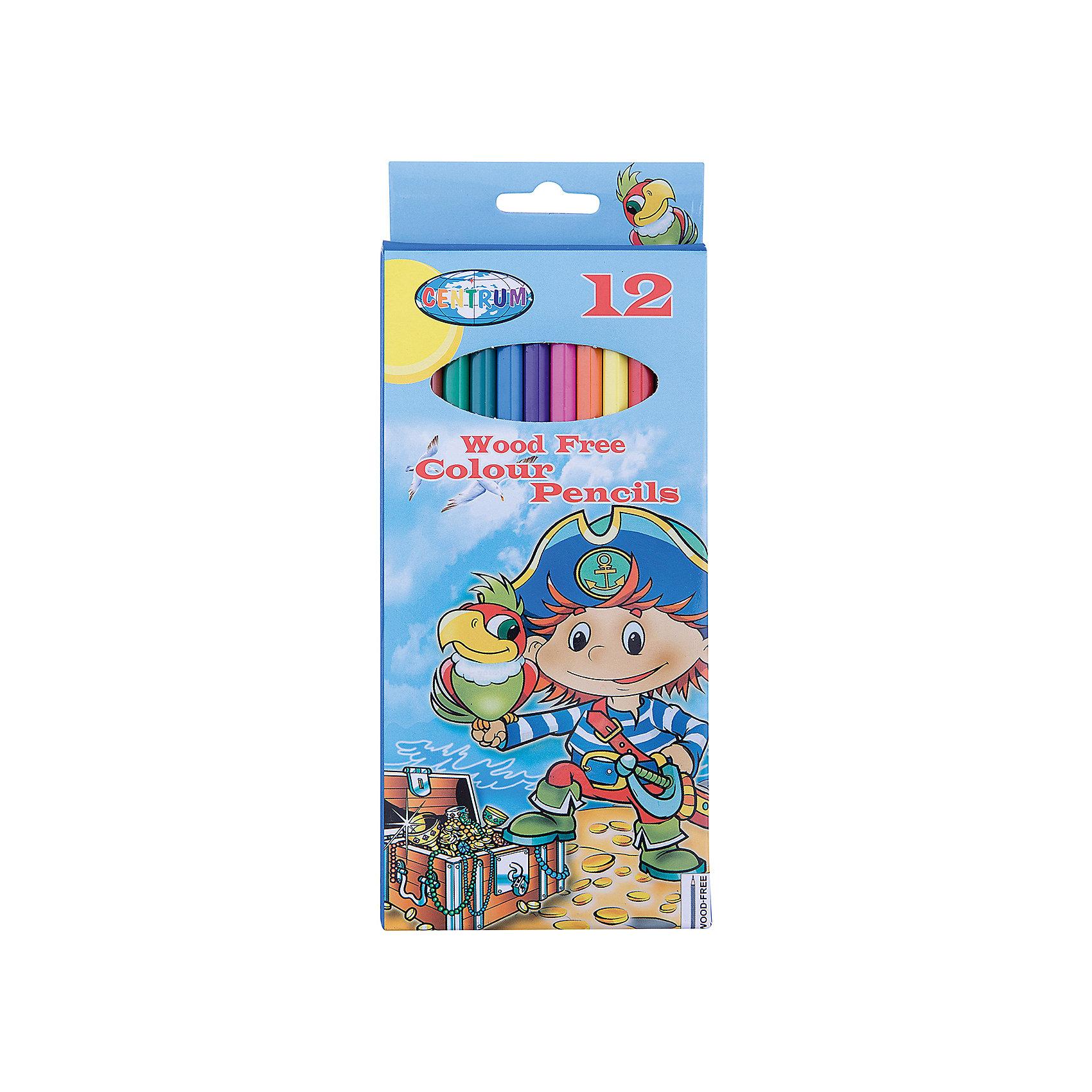 Длинные цветные карандаши Пират 12 цветовЦветные карандаши<br>Длинные цветные карандаши Пират 12 цветов<br><br>Характеристики:<br><br>- в набор входит: 12 карандашей <br>- состав: пластик картон<br>- длина карандашей: 17,7 см. <br>- размер упаковки: 24 * 1 * 12 см.<br>- для детей в возрасте: от 3 до 10 лет<br>- страна производитель: Китай<br><br>Набор цветных карандашей с рисунком озорного пирата понравится мальчишкам. Немецкая компания Centrum (Центрум) специализируется на товарах для детского творчества и развития. Яркая коробочка выполнена из картона и отлично вмещает все карандаши, не позволяя им разбегаться по столу или школьному ранцу. Сами карандаши выполнены из пластика, уже заточены, имеют мягкую структуру грифеля и рисуют яркие линии без сильного нажатия. Классические двенадцать цветов помогут нарисовать самый лучший шедевр и просто отлично провести время. Рисование карандашами разрабатывает моторику ручек, творческие способности, успокаивает, помогает развить аккуратность и внимание. <br><br>Длинные цветные карандаши Пират 12 цветов можно купить в нашем интернет-магазине.<br><br>Ширина мм: 10<br>Глубина мм: 90<br>Высота мм: 205<br>Вес г: 94<br>Возраст от месяцев: 36<br>Возраст до месяцев: 120<br>Пол: Мужской<br>Возраст: Детский<br>SKU: 5175447
