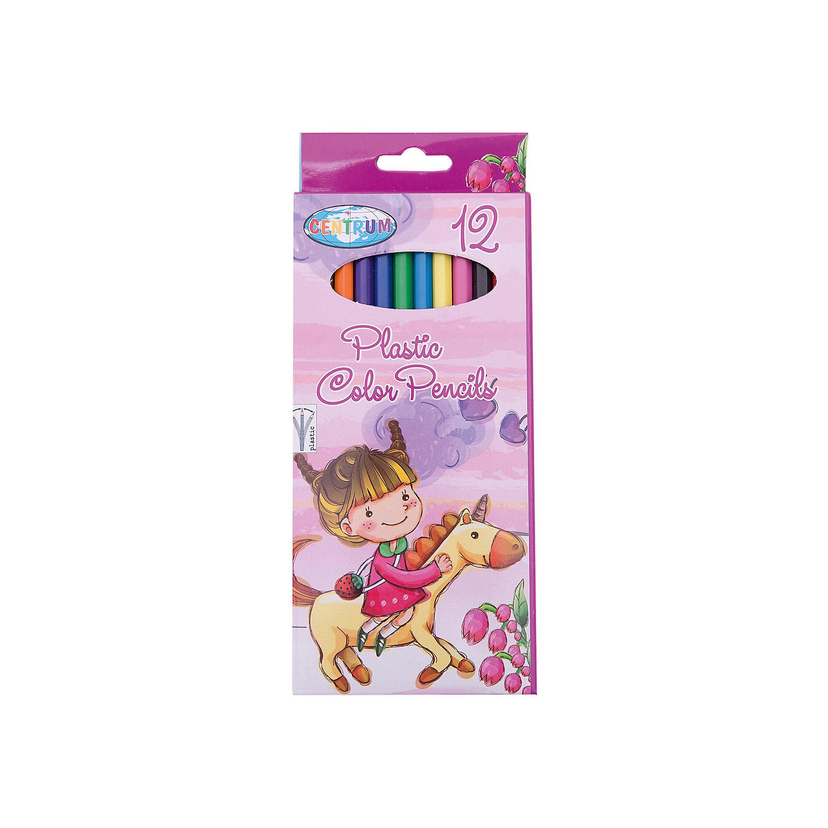 CENTRUM Длинные цветные карандаши Единорог, 12 цветов centrum цветные карандаши jumbo жираф 6 цветов